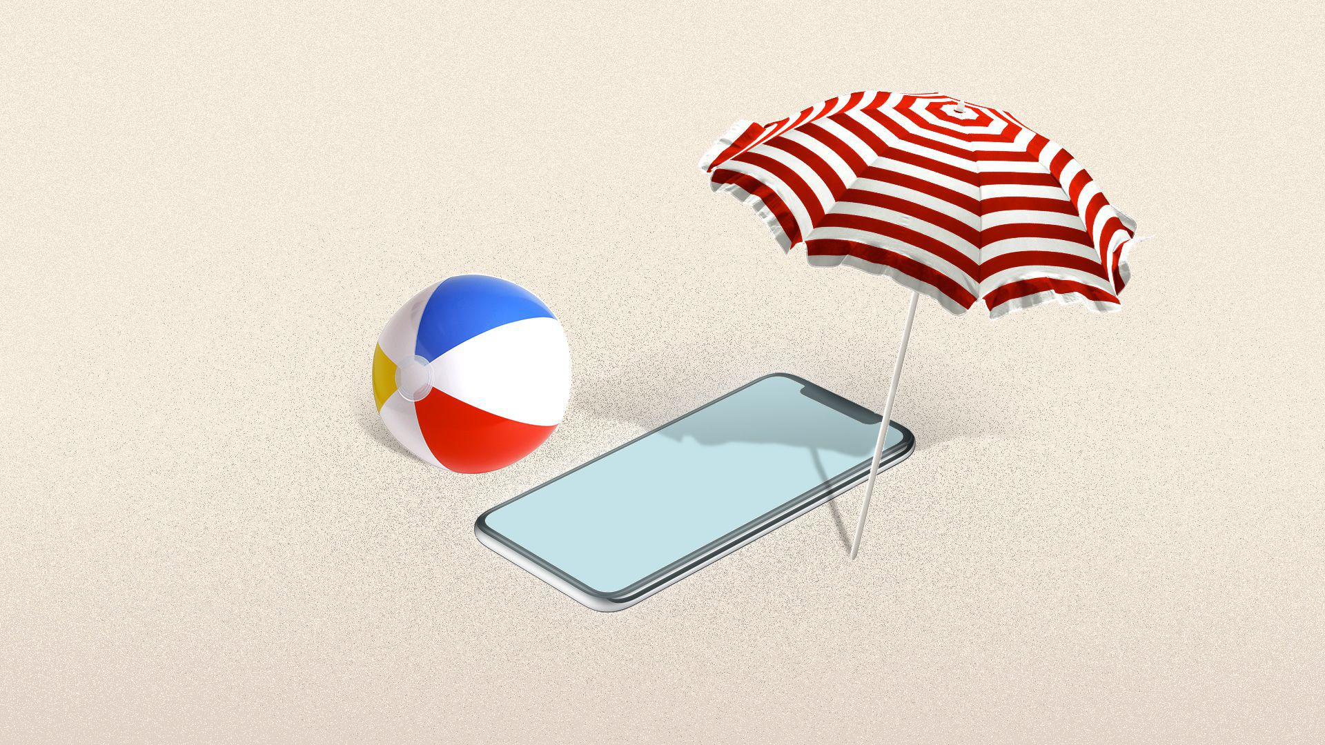 An illustration of a smartphone on a beach with an umbrella and beach ball