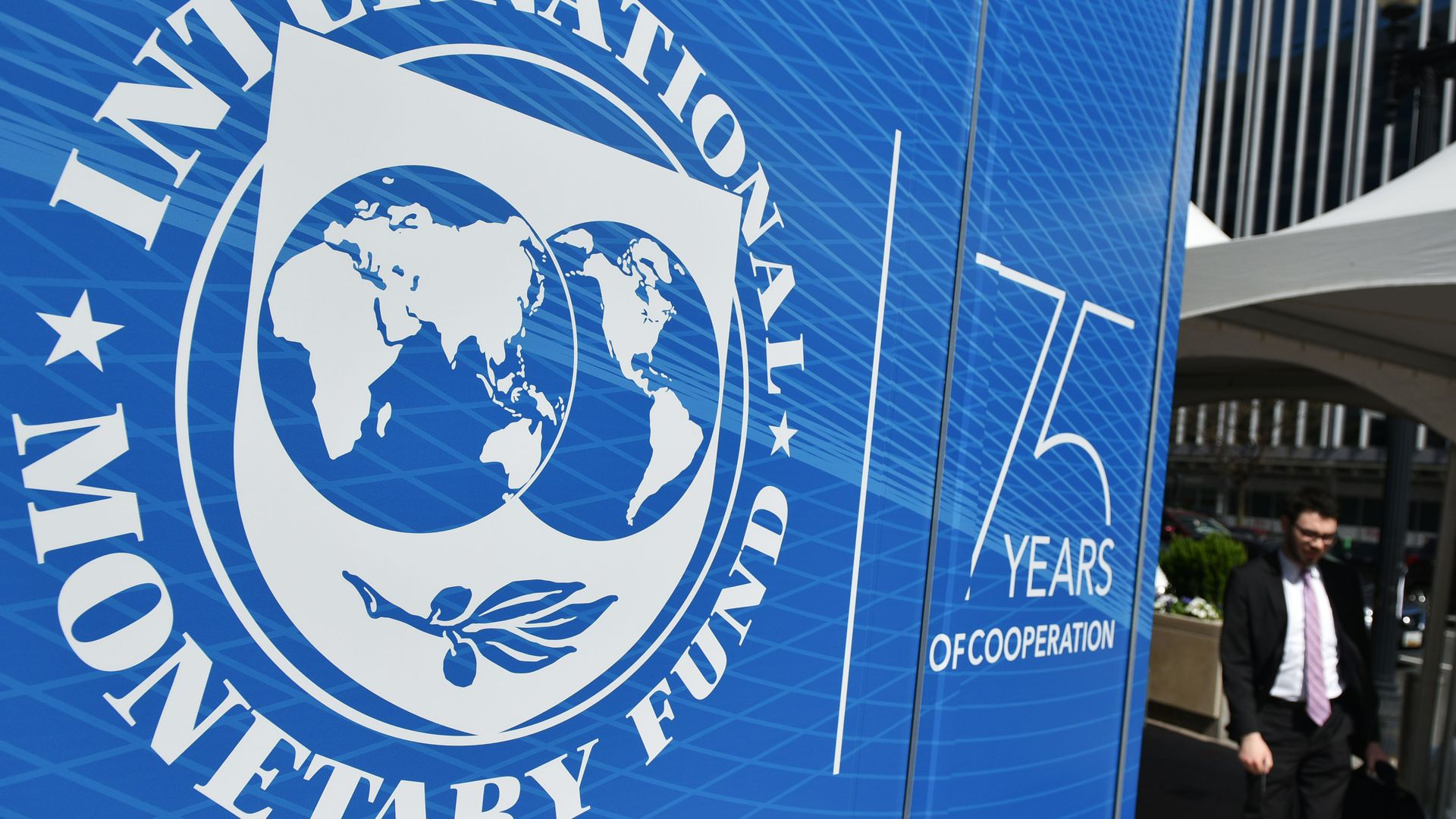 The seal of the International Monetary Fund(IMF) is seen outside of the headquarters building in Washington, DC on April 8, 2019.
