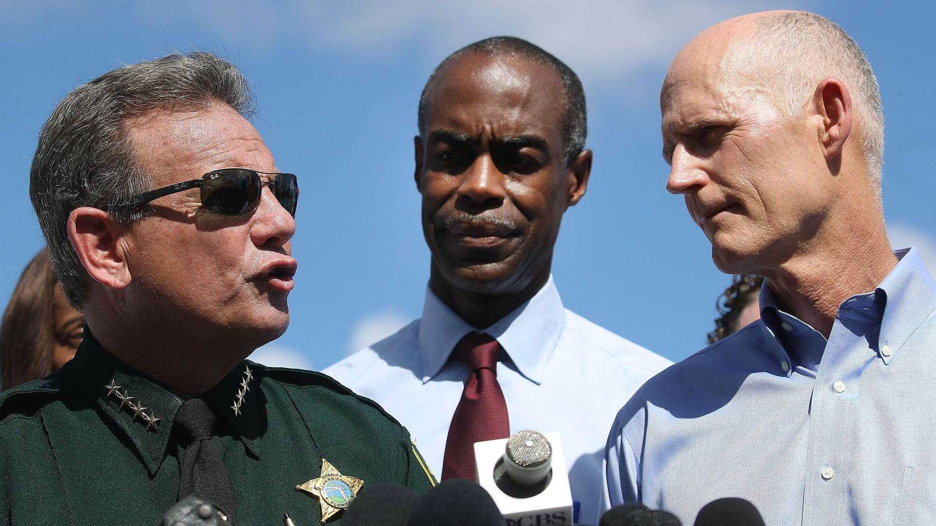 Florida Governor Rick Scott, Broward County Superintendent, Robert W. Runcie and Broward County Sheriff, Scott Israel.