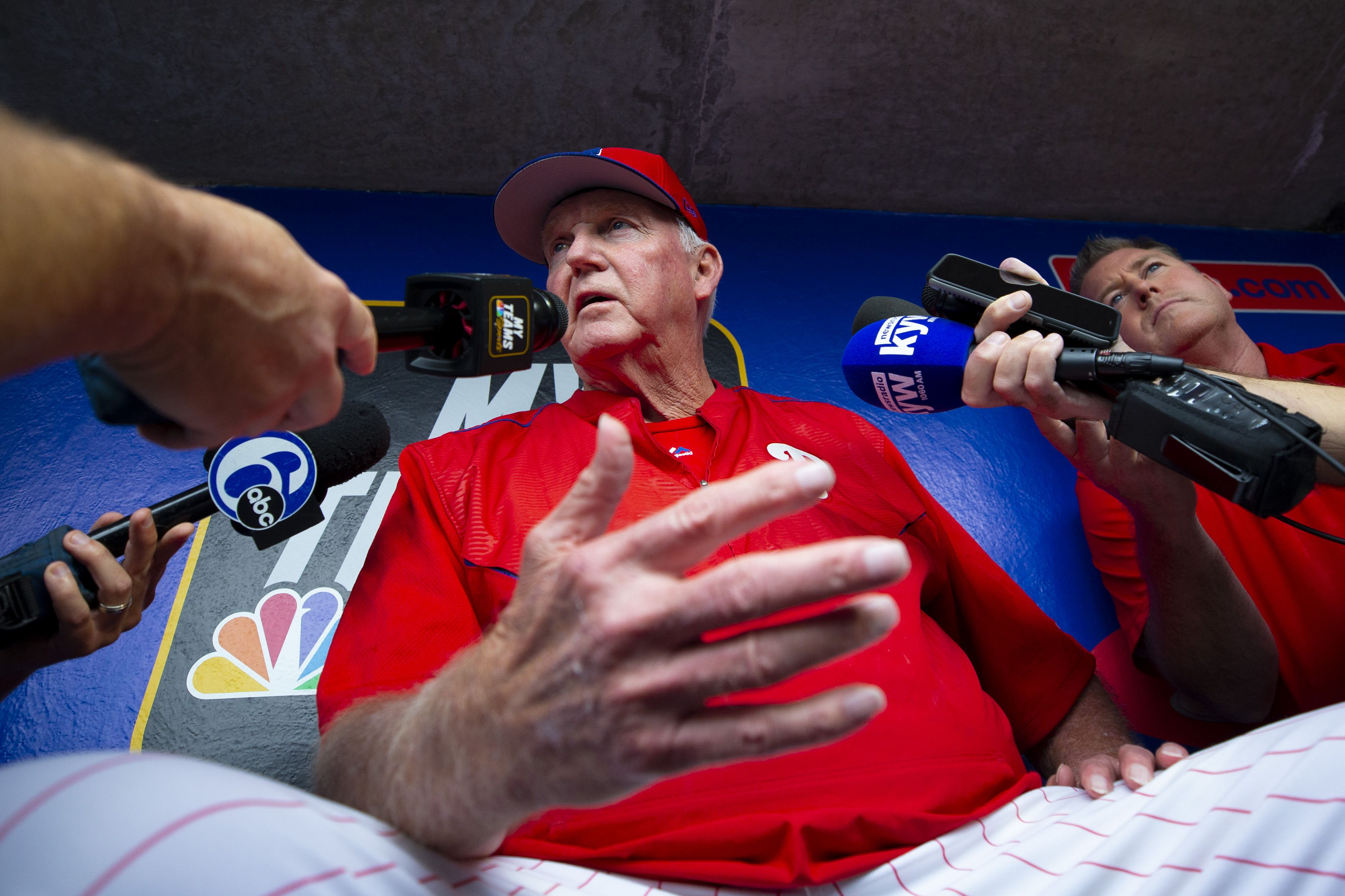 Charlie Manuel talking to the media
