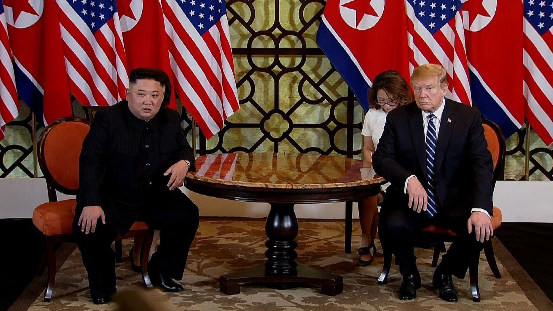 President Trump at a summit meeting with North Korea's Kim Jong Un