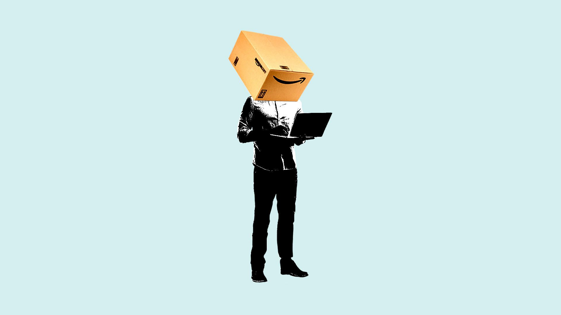 illustration of a man holding a laptop with an Amazon  box over his head.