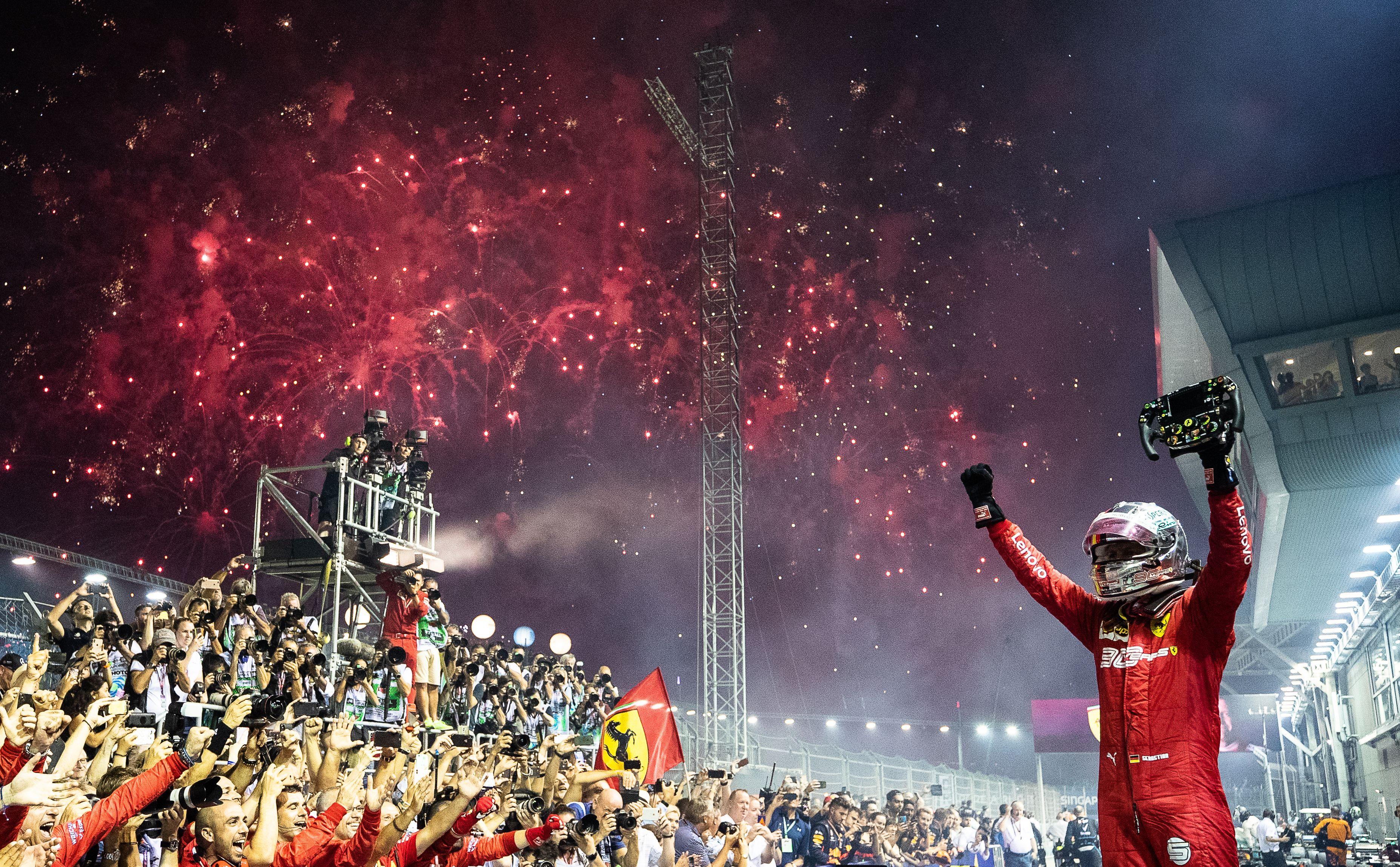 Sebastian Vettel after winning the Singapore Grand Prix