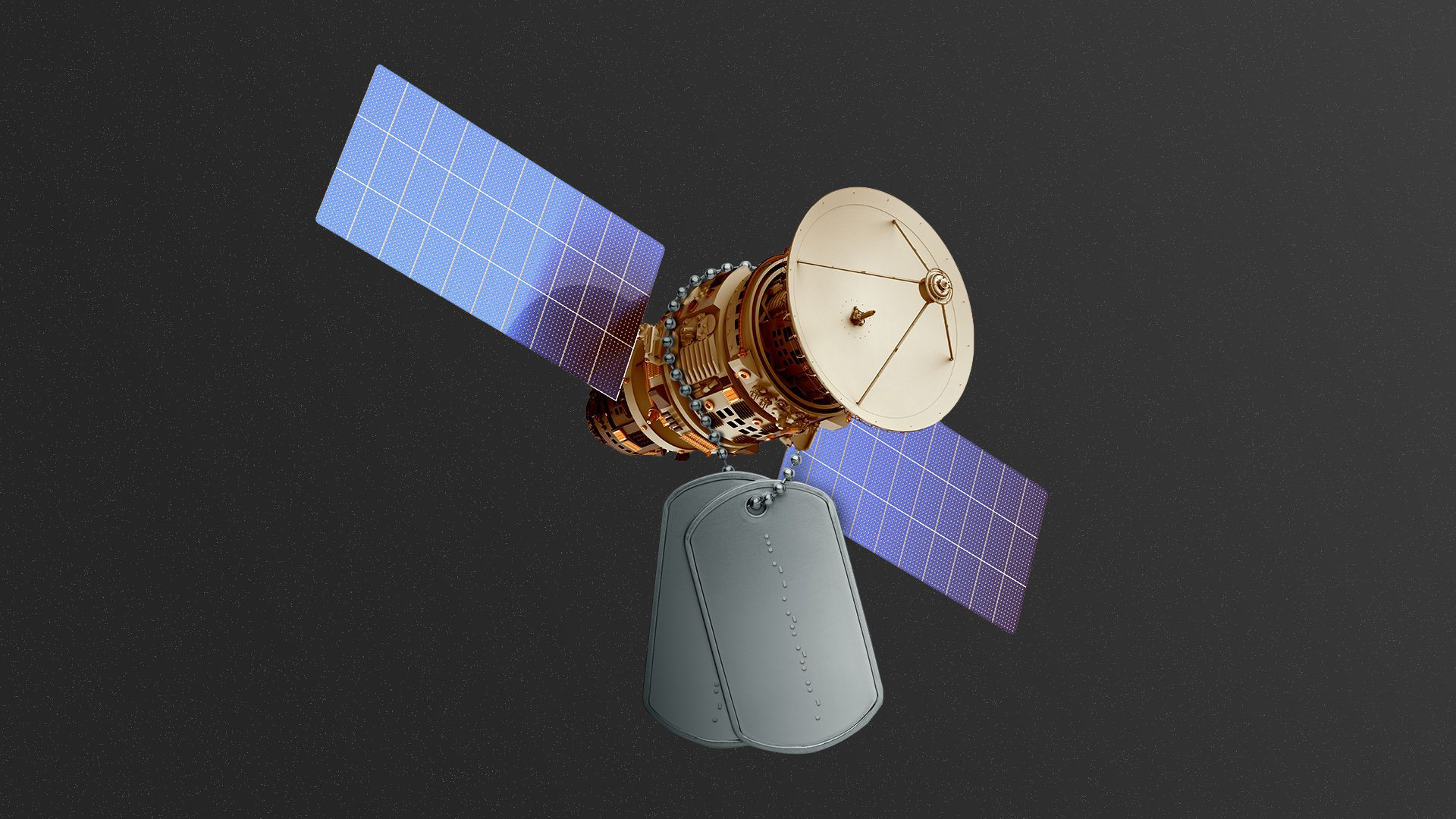 Illustration of a satellite with dog tags