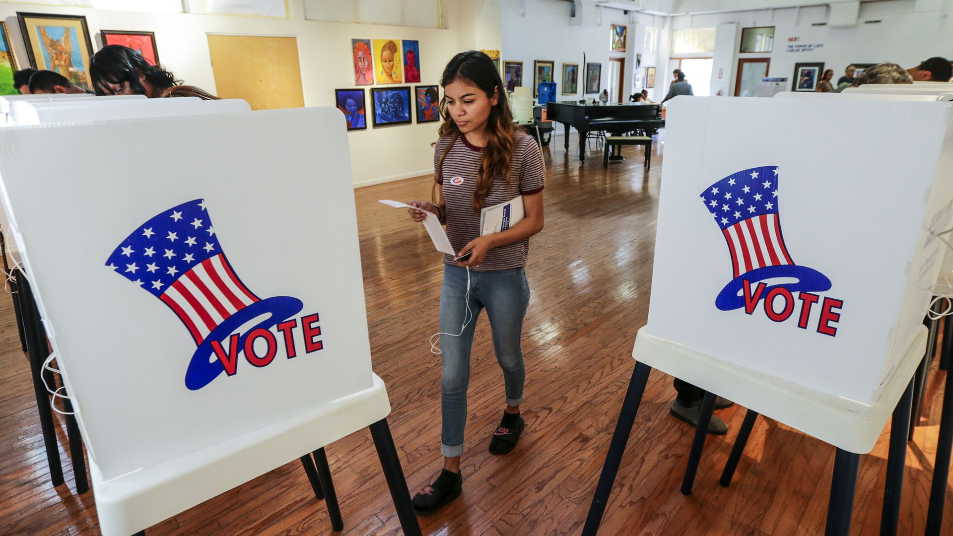 A voter going to the polls
