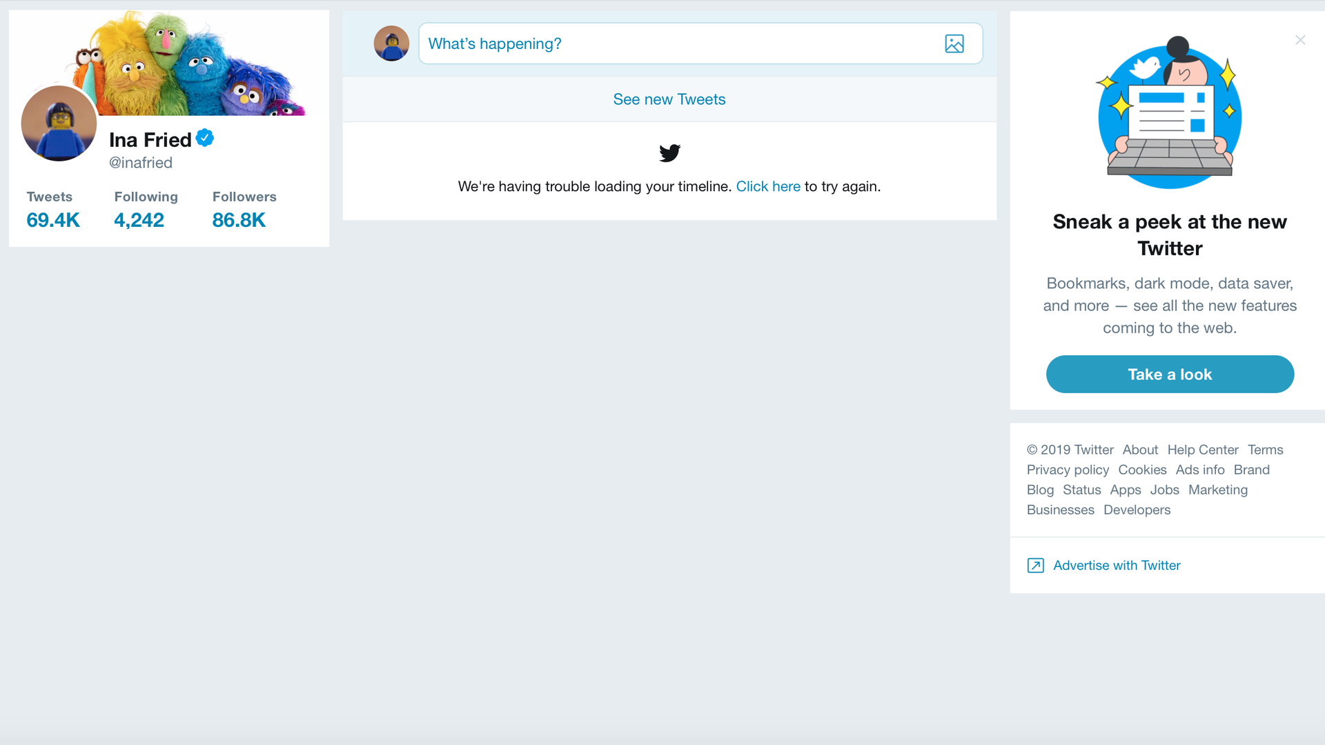 A screenshot of Twitter, which was down on July 11, 2019