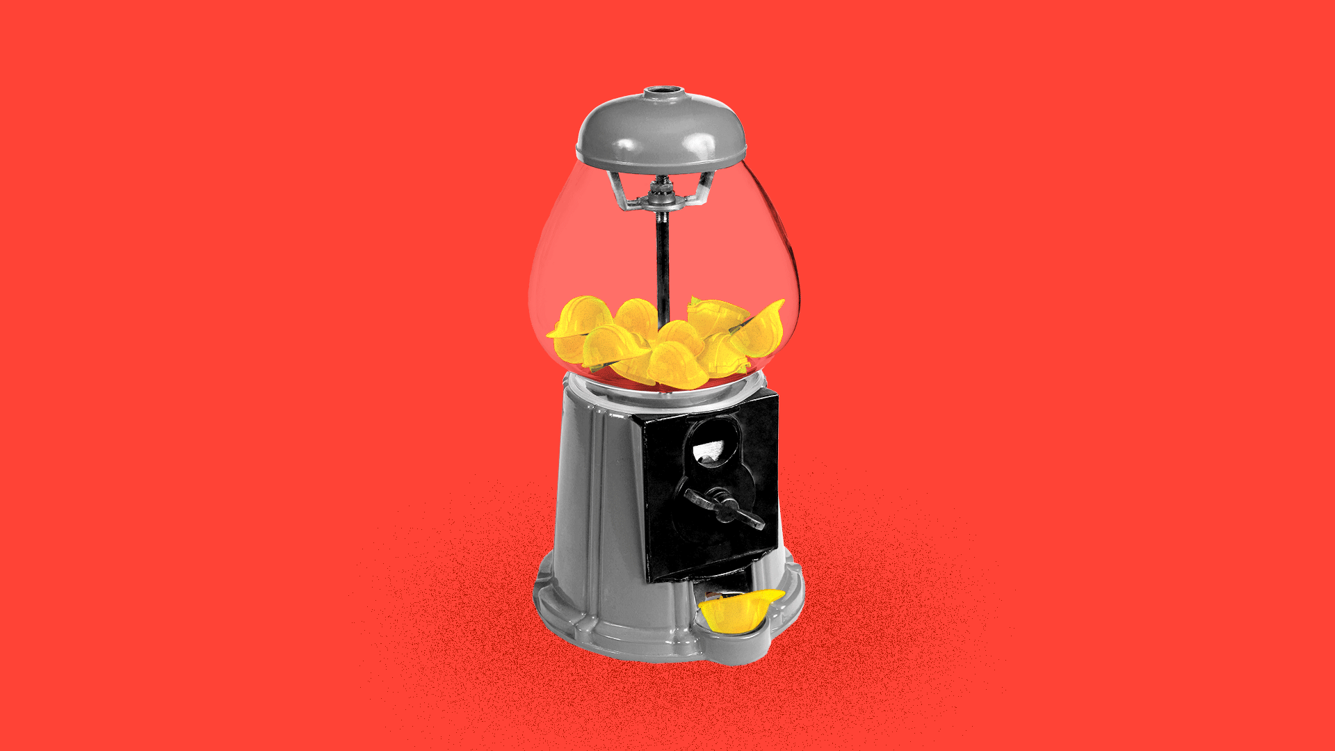 Illustration of yellow hard hats being dispensed from a near-empty candy machine.
