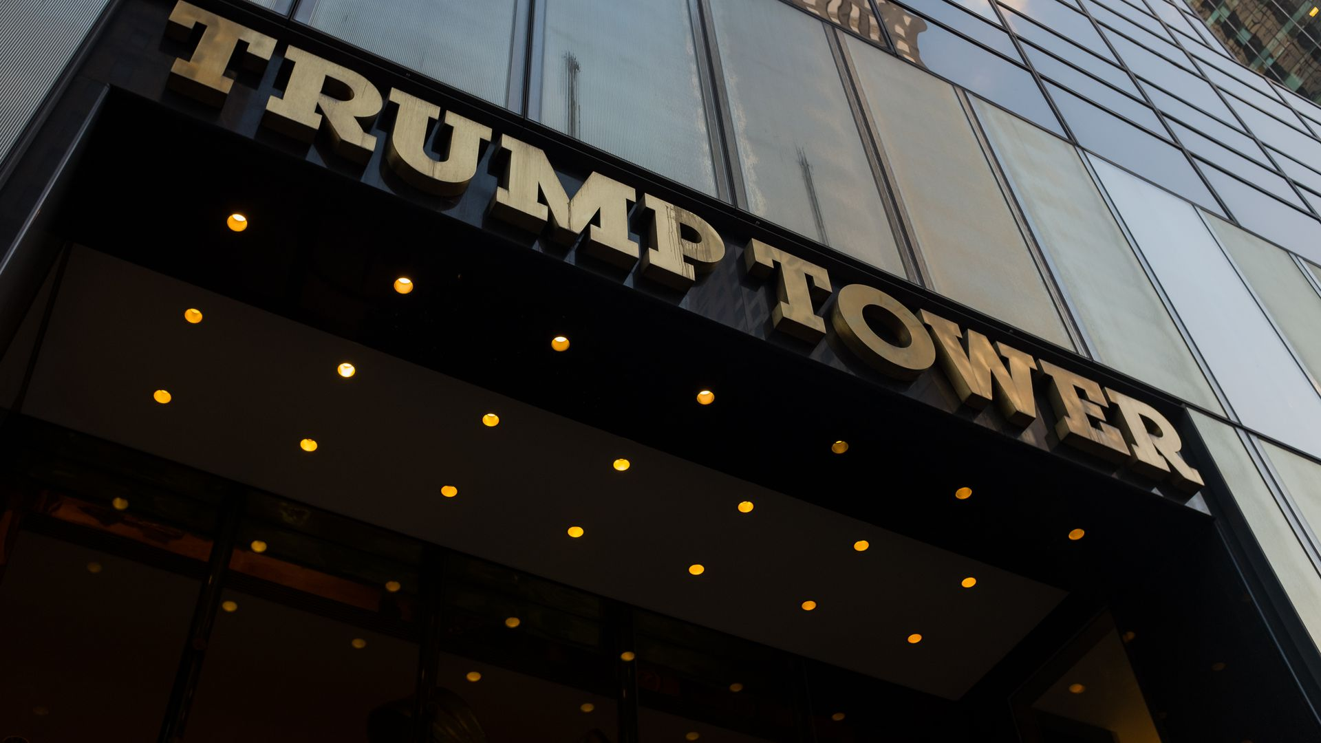 A general view of the sign and exterior of Trump Tower entrance.