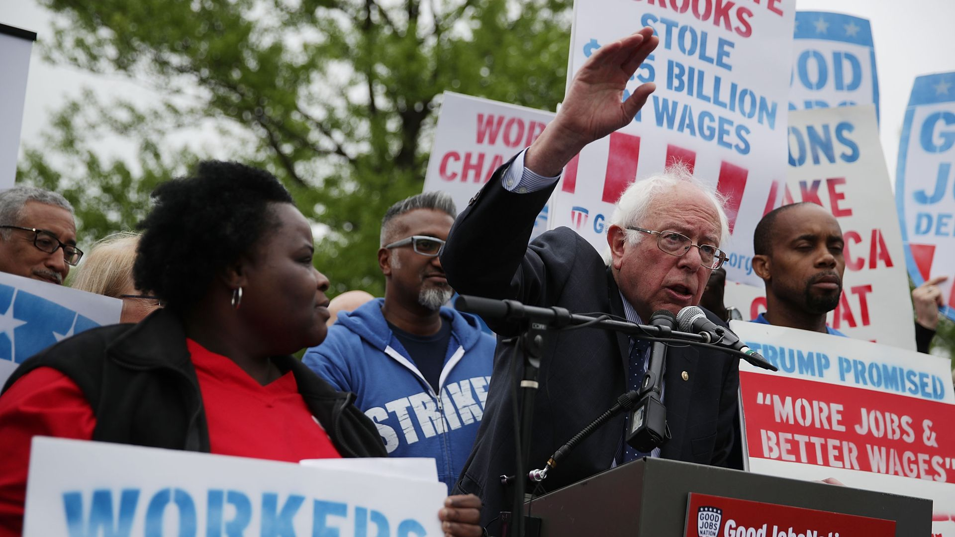 Sen. Bernie Sanders at a rally last year on Capitol Hill for a $15 minimum and rights to form unions. Photo: Alex Wong/Getty Images