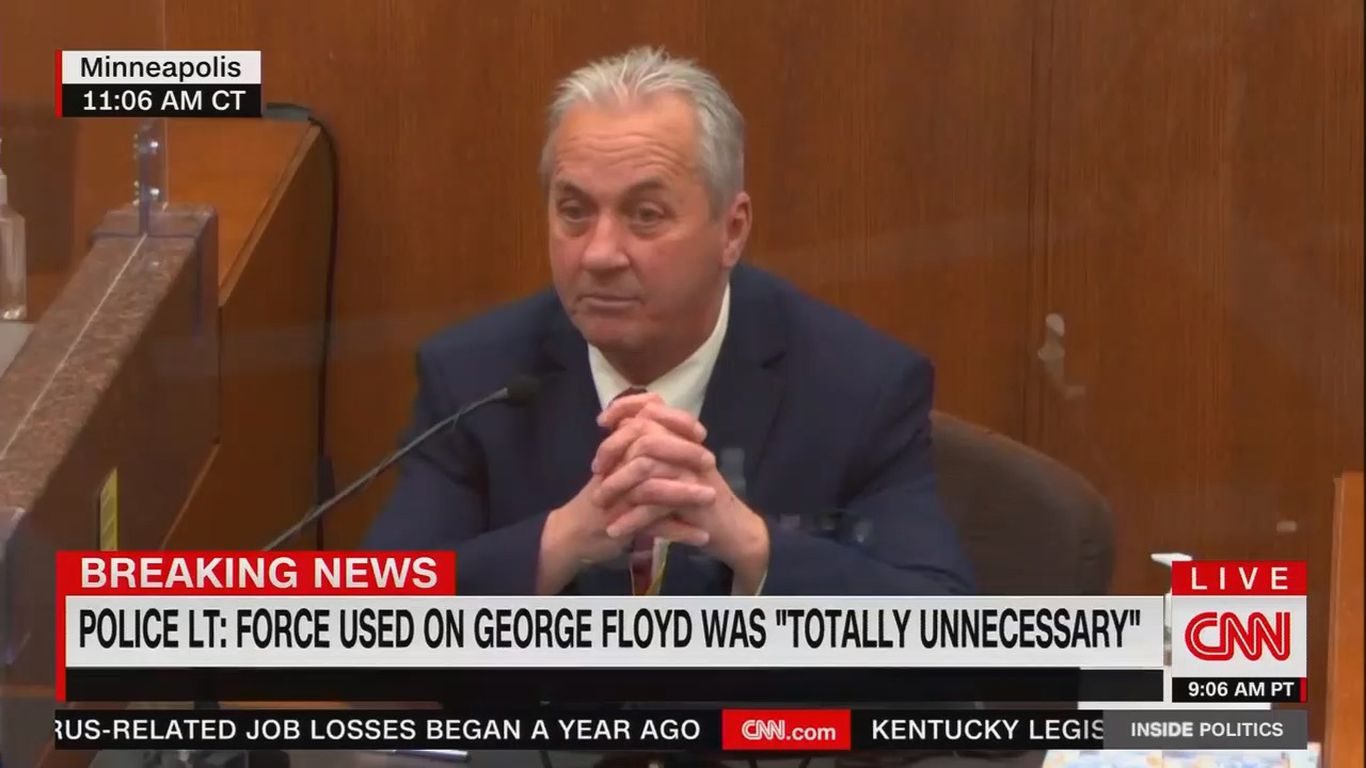 "Top homicide lieutenant: Chauvin's use of force on George Floyd was ""totally unnecessary"" thumbnail"