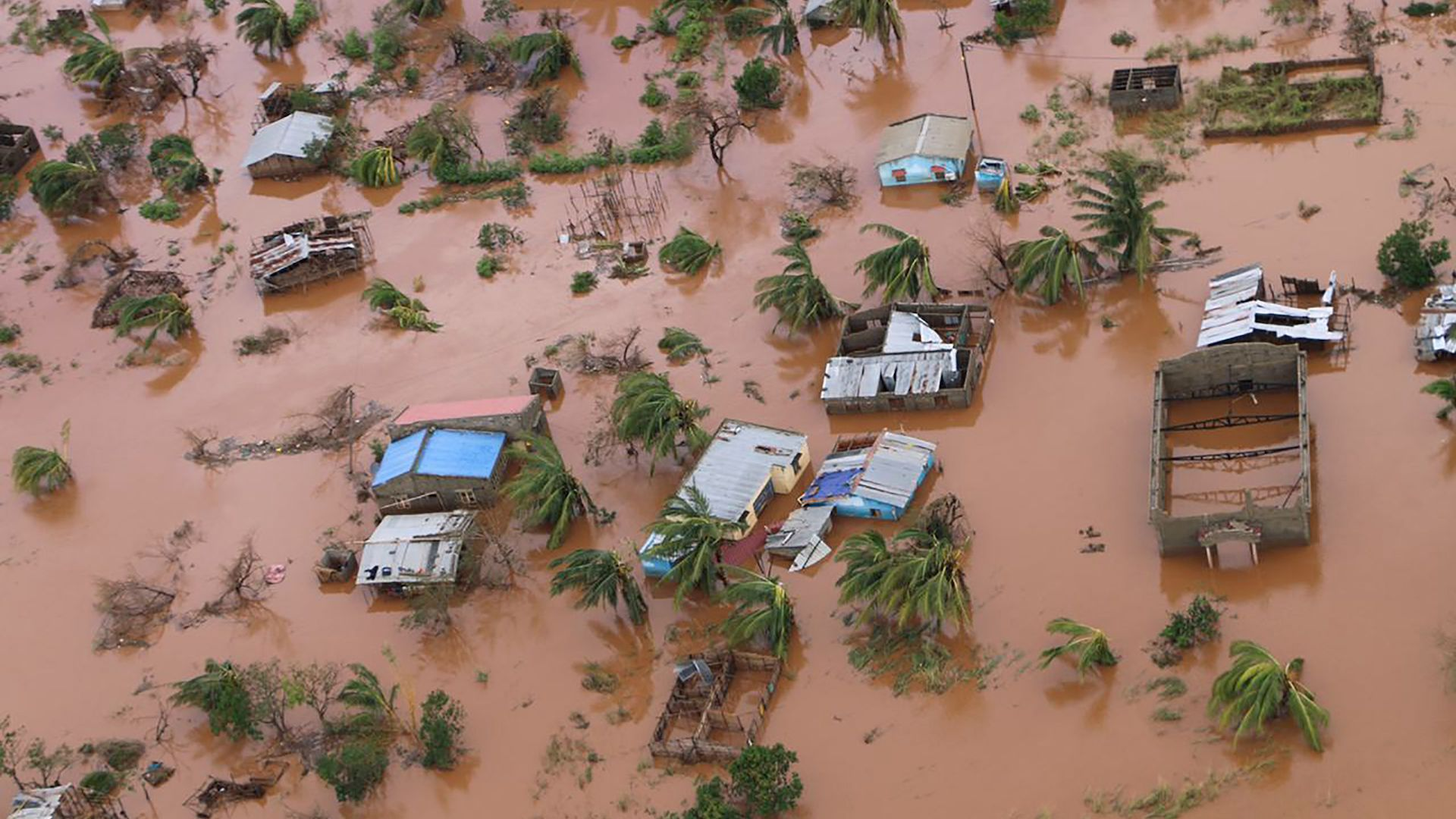 Houses in a flooded area of Buzi, central Mozambique, on March 20, 2019.