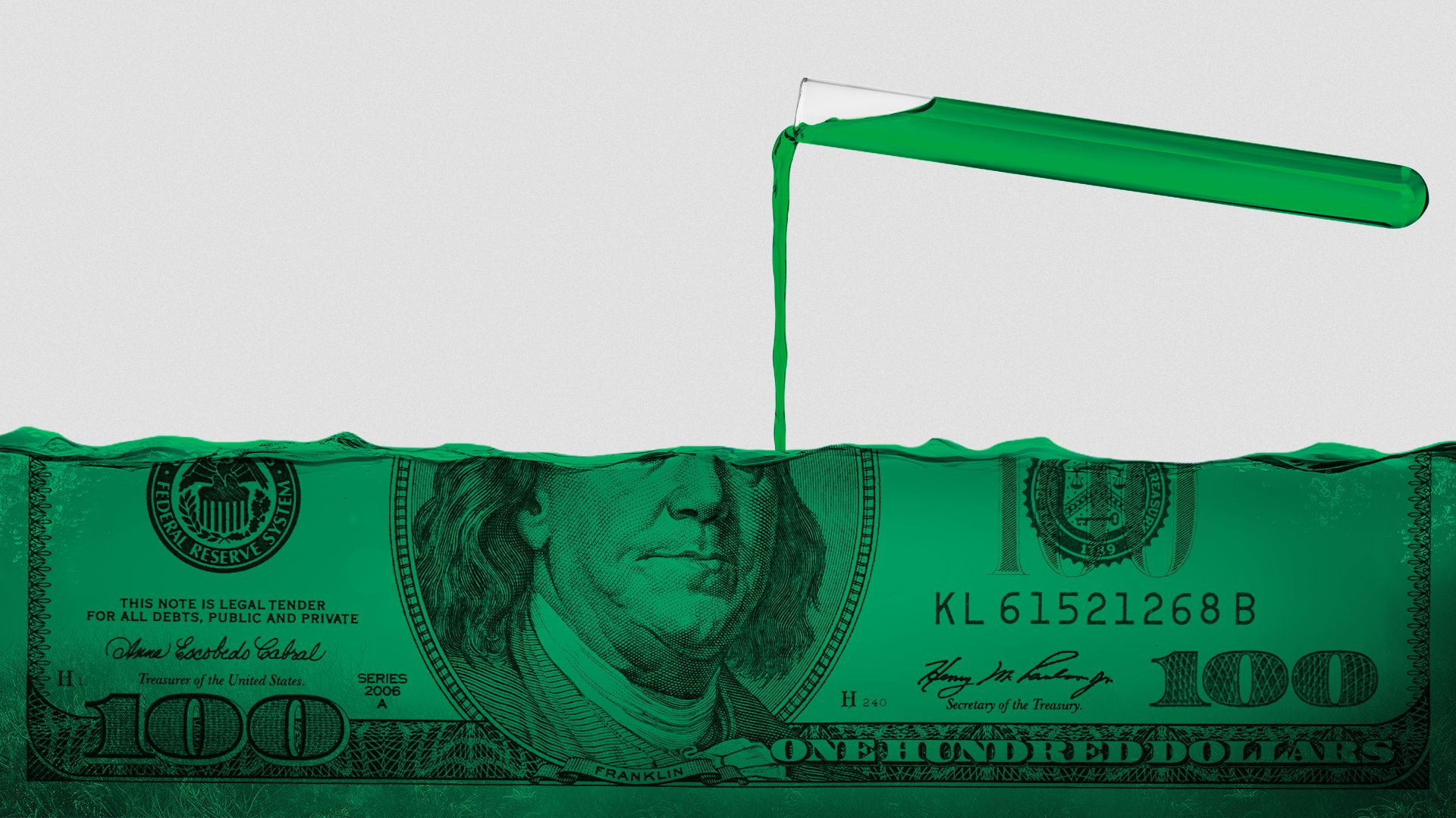 Illustration of a beaker pouring liquid that is filling up a 100-dollar bill.