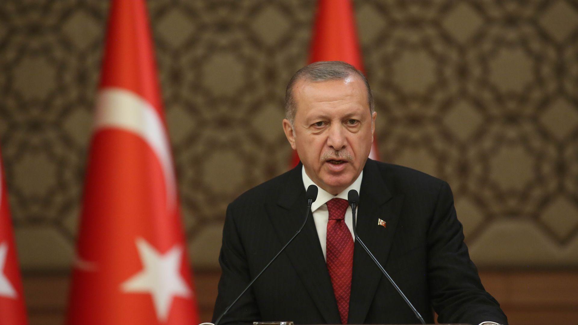 Turkey's President Erdogan giving a speech