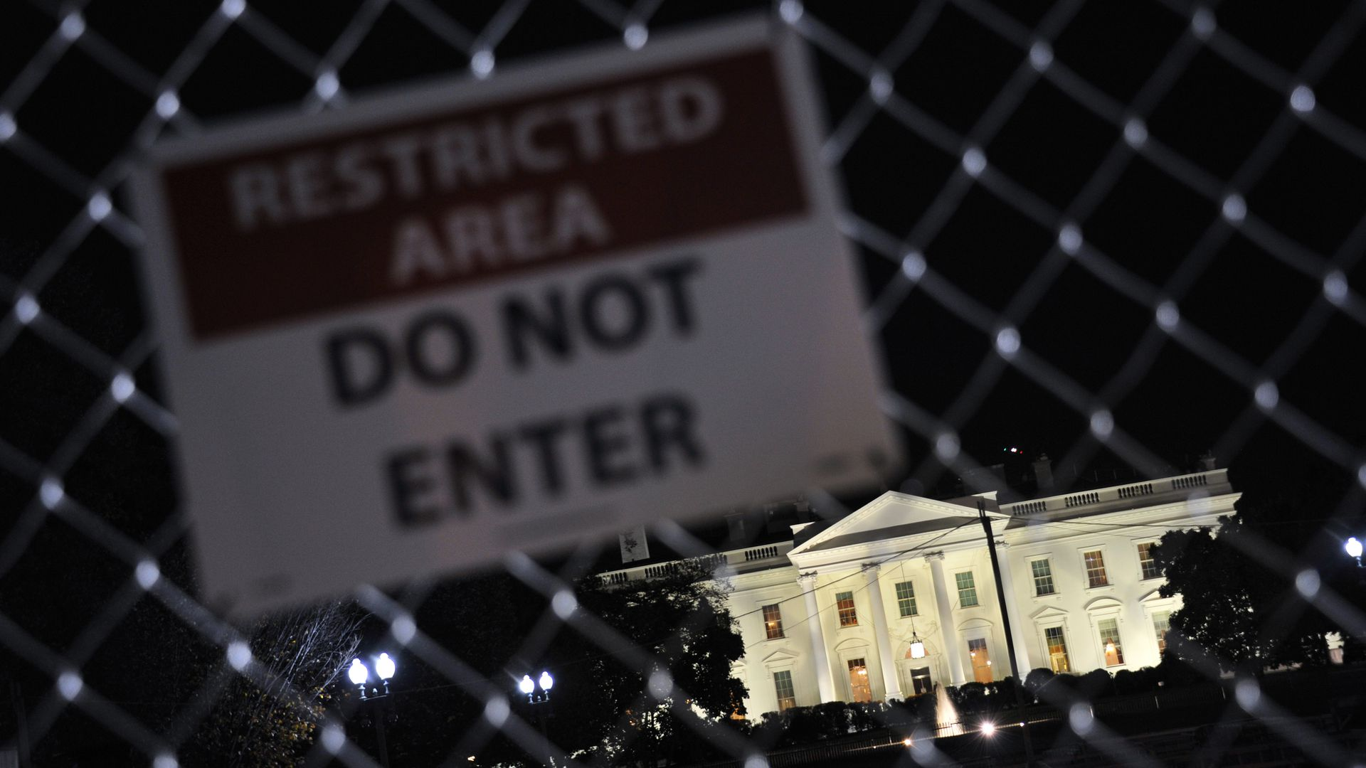 White House with a restricted area sign