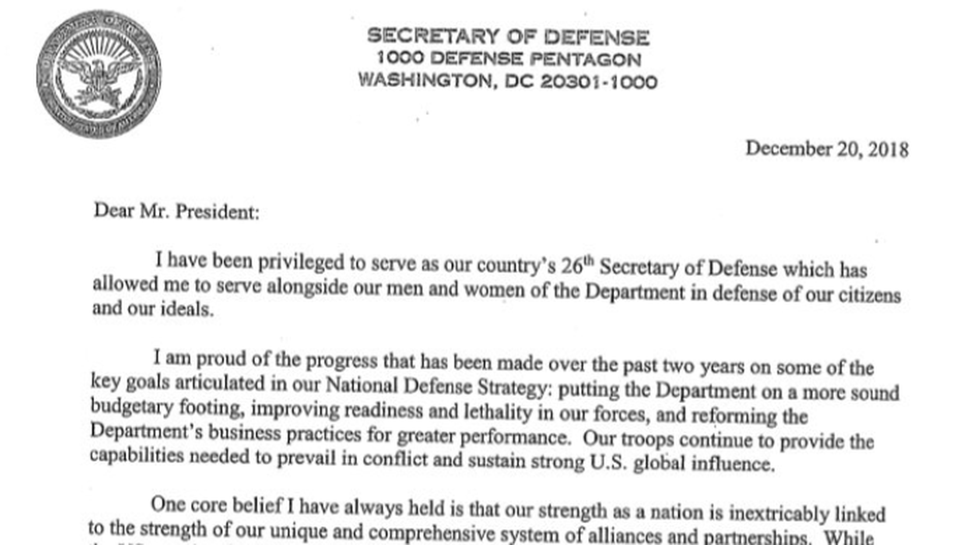 Mattis resignation letter lists ways he was
