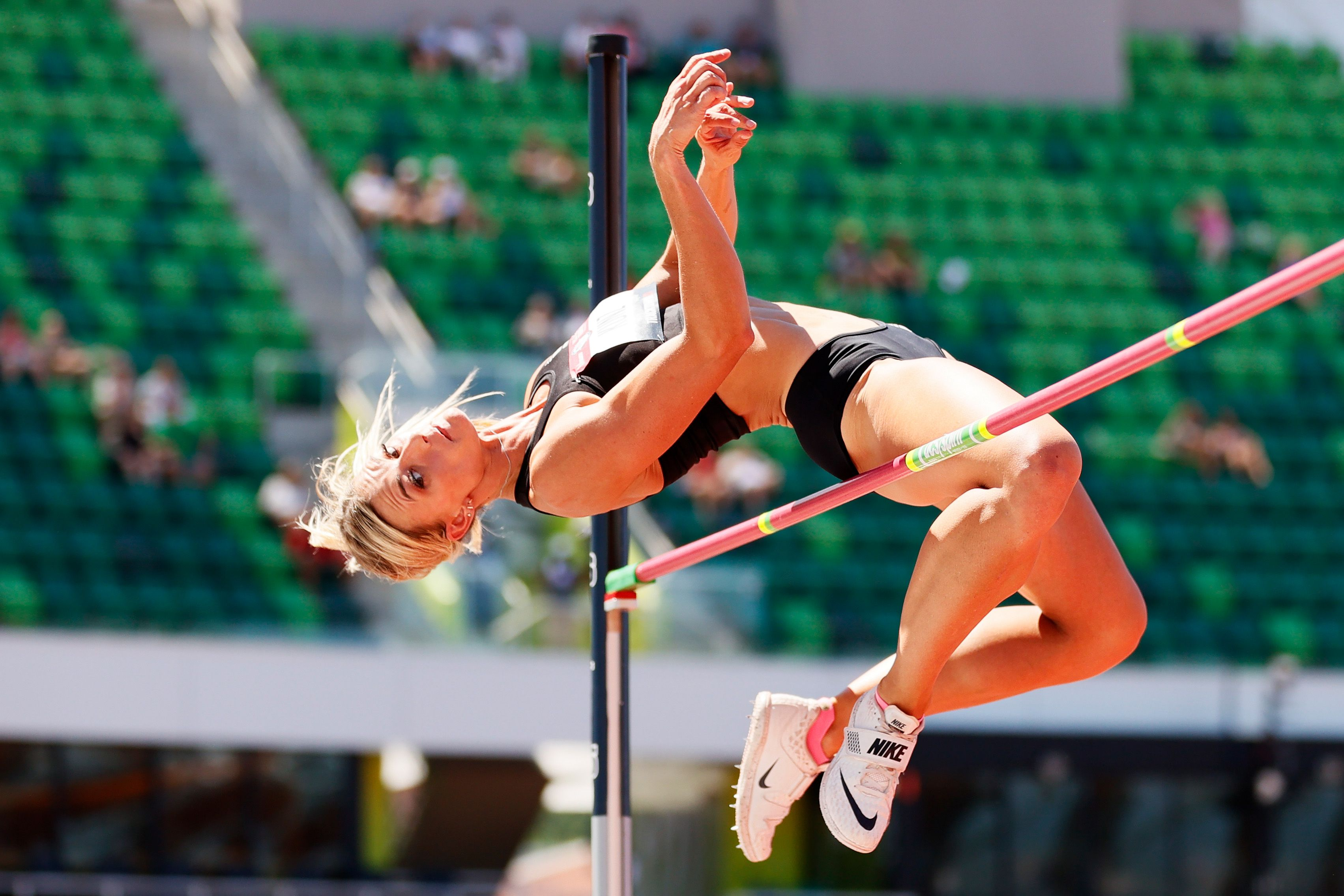 Annie Kunz competes in the high jump as part of the heptathlon at the U.S. trials in June. Photo: Steph Chambers/Getty Images