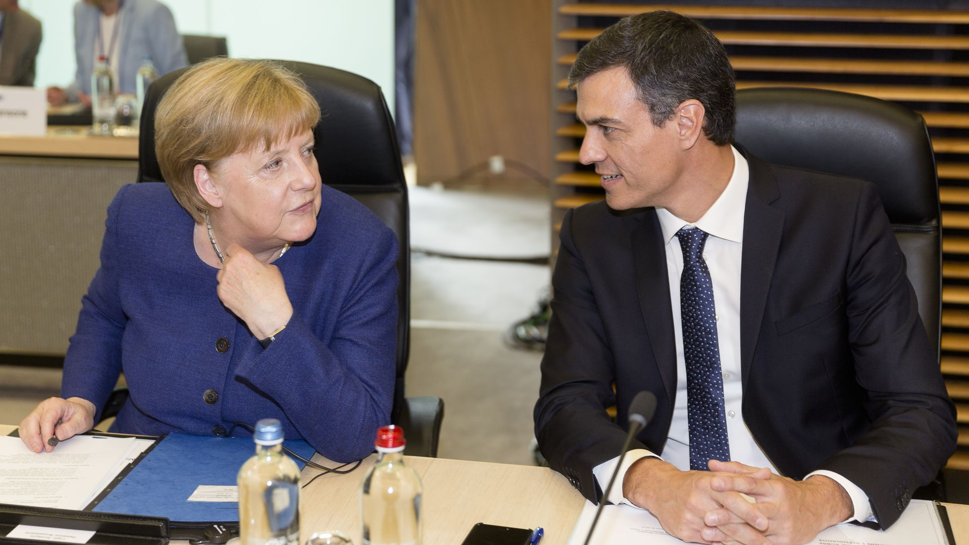 German Chancellor Angela Merkel and Spanish Prime Minister Pedro Sanchez at a meeting on migration and asylum issues in Brussels, Belgium. Photo: Thierry Monasse/Getty Images