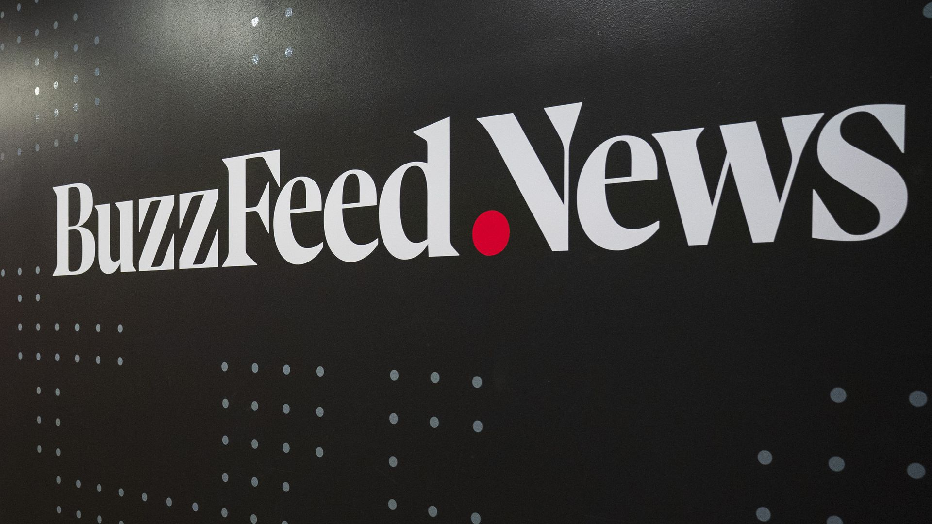 Wall painted with BuzzFeed News logo