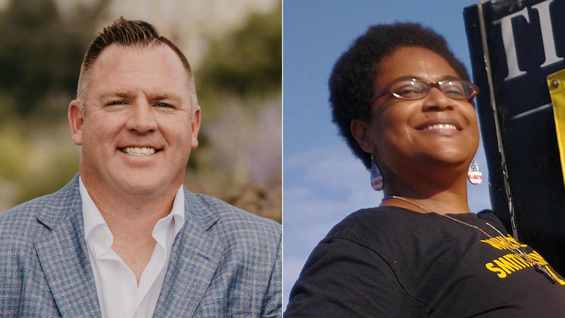 Candidates JC Ruddy and Whitney Smith McIntosh, who are running for school boards in Iowa.