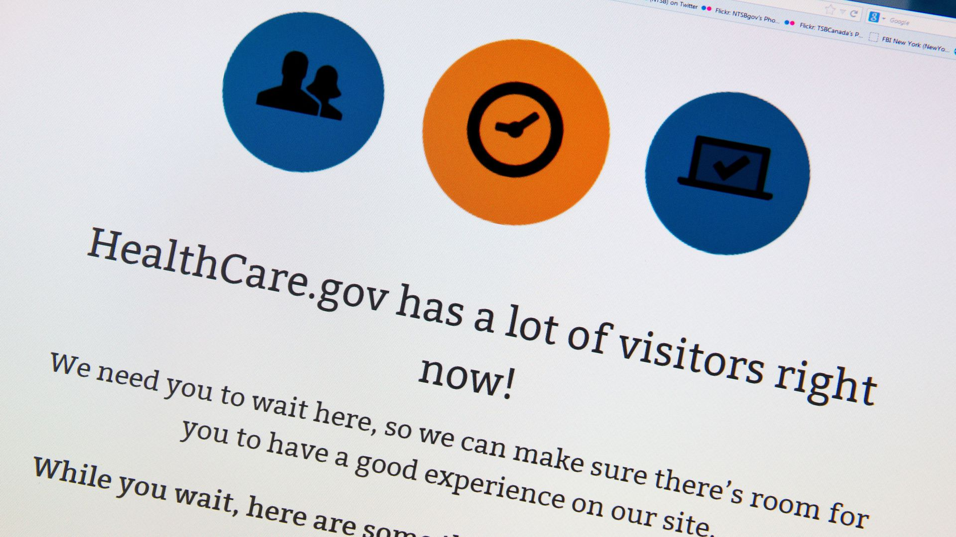 A photo of a screen showing that healthcare.gov has a lot of visitors