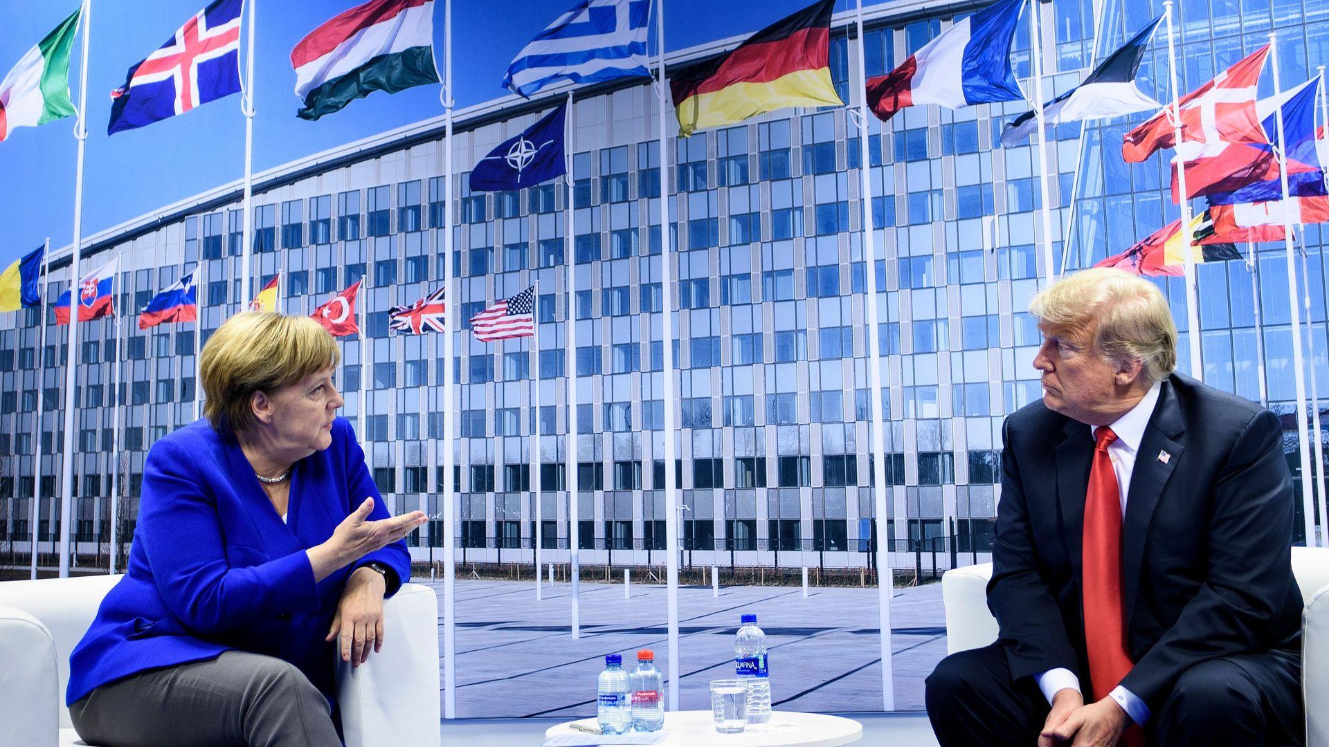 German Chancellor Angela Merkel and US President Donald Trump