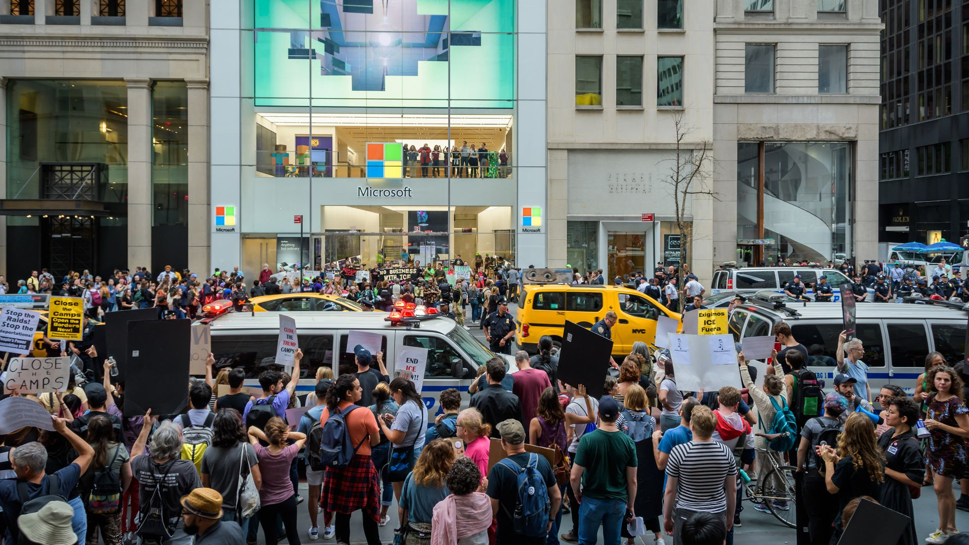 A total of 76 protesters were arrested after shutting down the Microsoft retail store in Manhattan and blocking traffic on Fifth Avenue on September 14