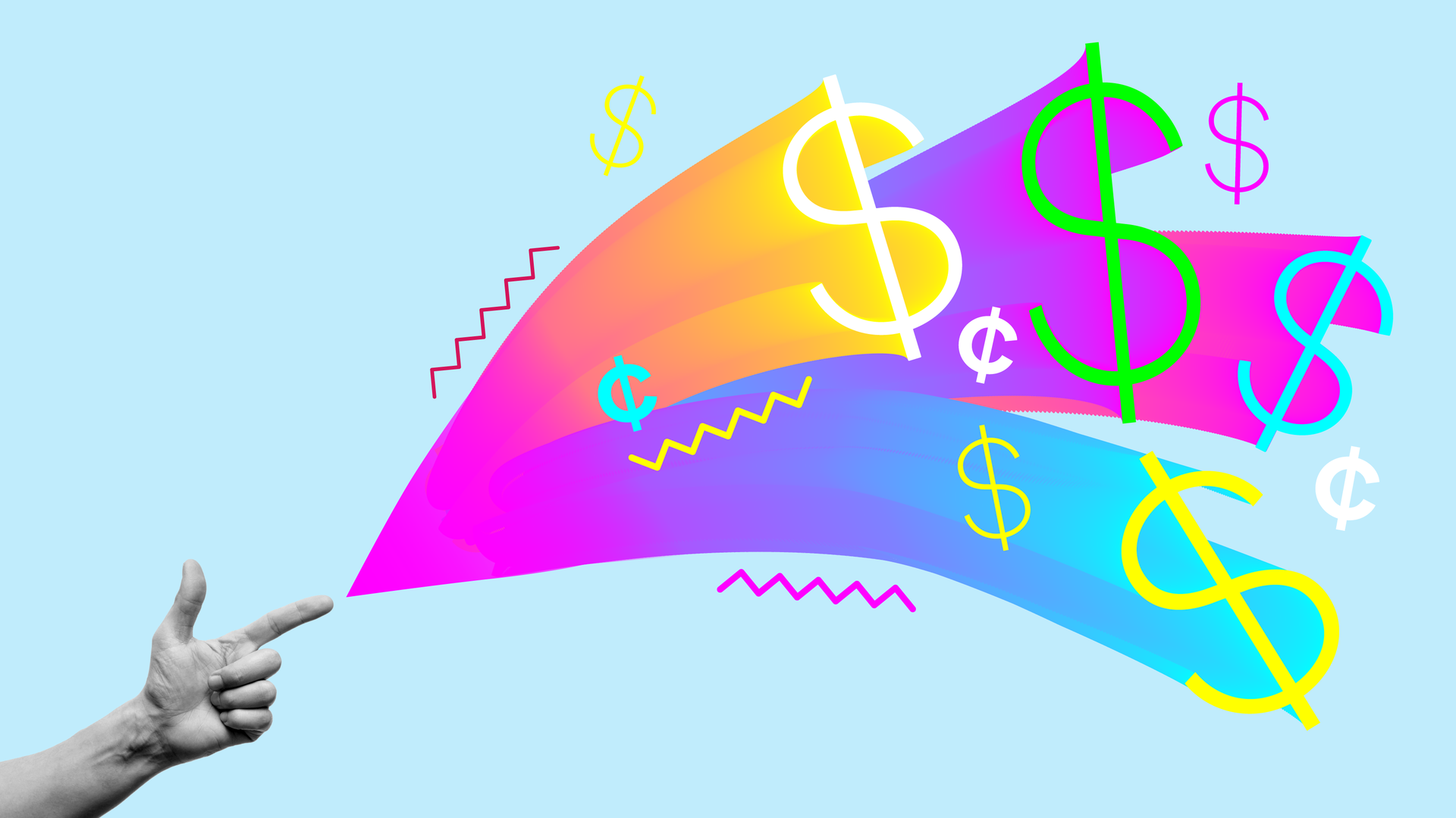 Illustration rainbow money signs shooting out of a hand.