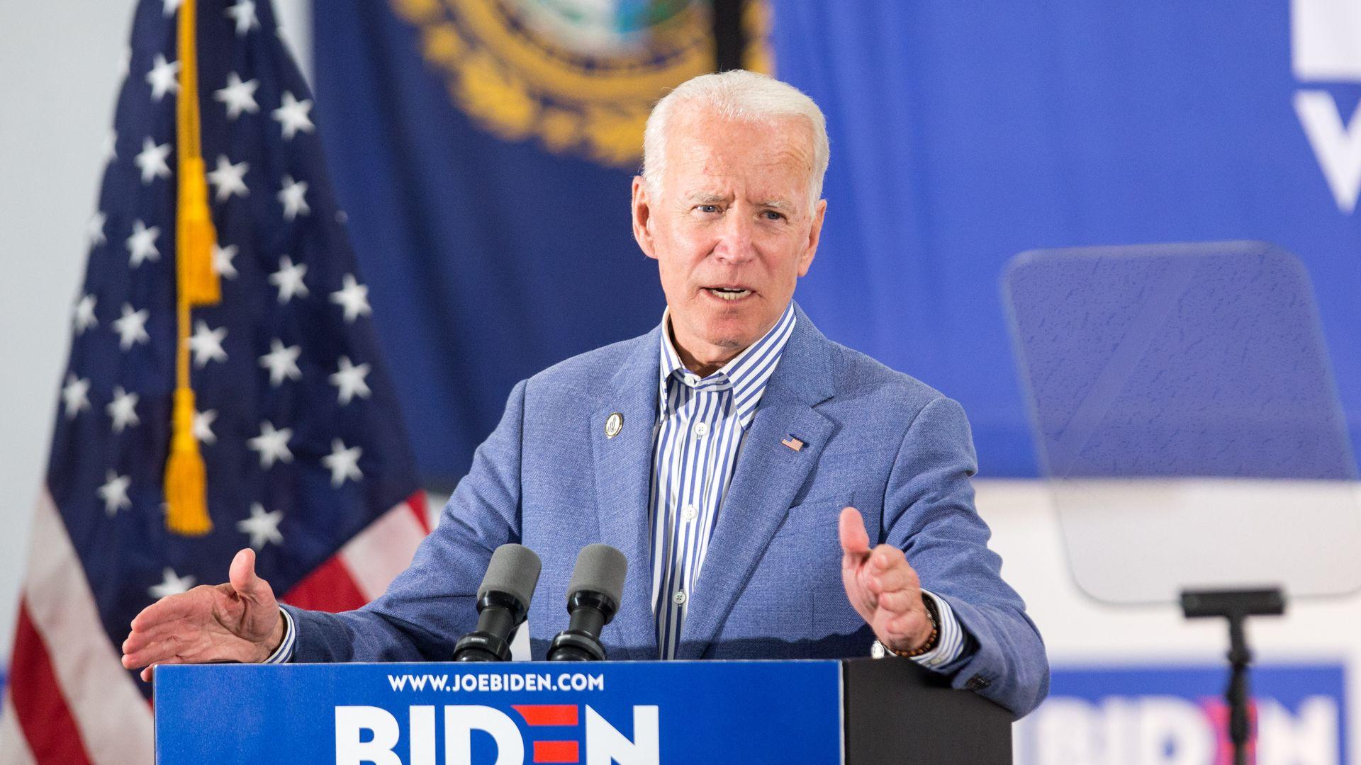 Joe Biden giving a speech in New Hampshire