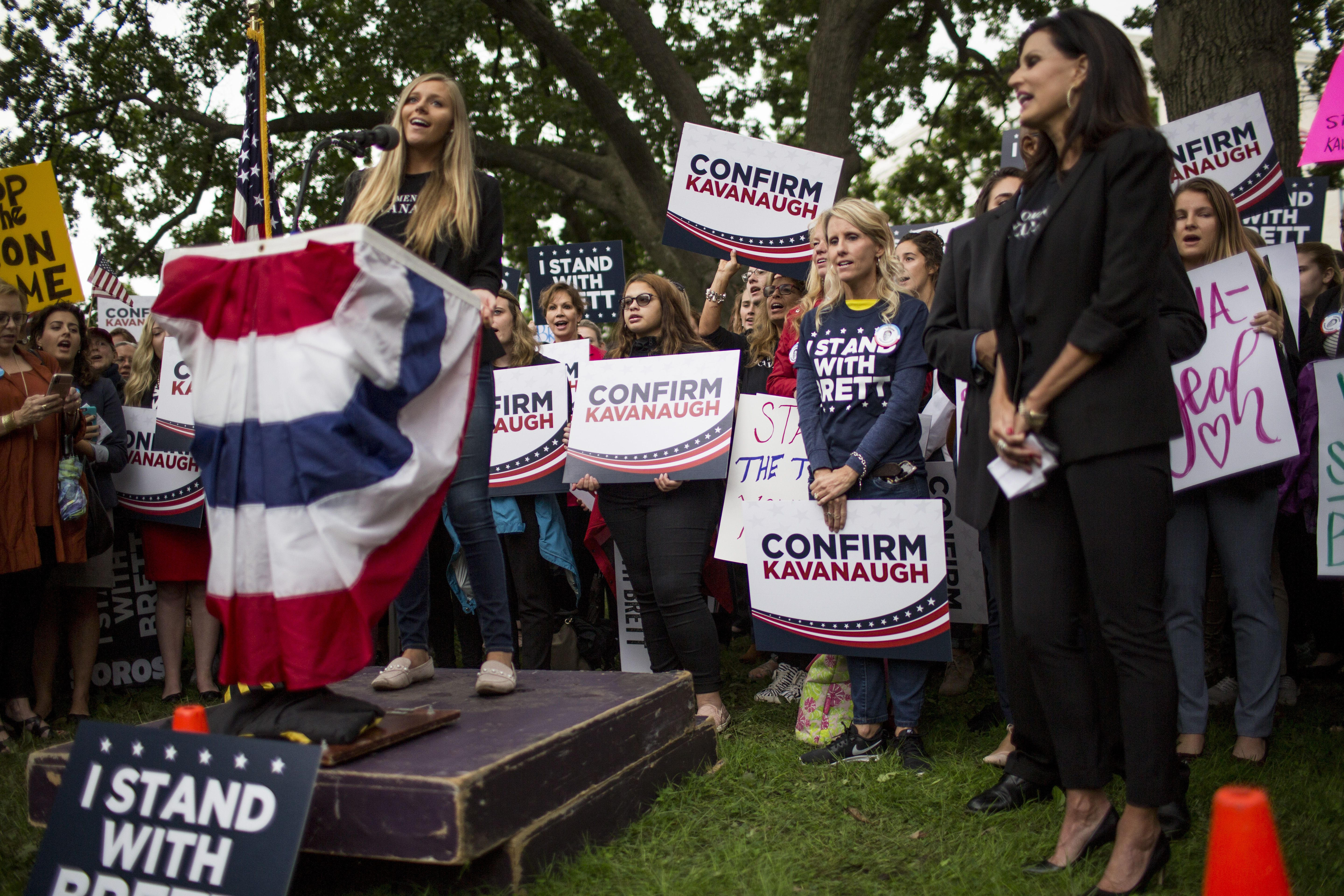 Demonstrators during a rally supporting Kavanaugh. Photo: Zach Gibson/Getty Images