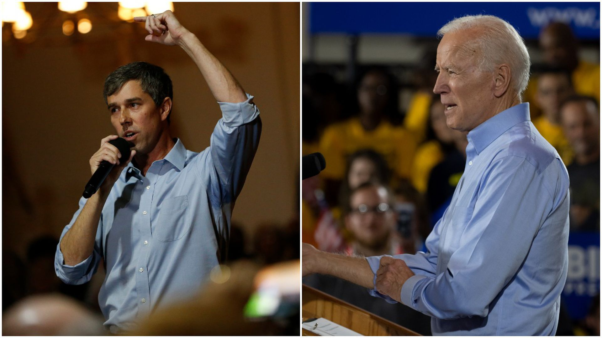 This image is a two-way split screen between Joe Biden and Beto O'Rourke