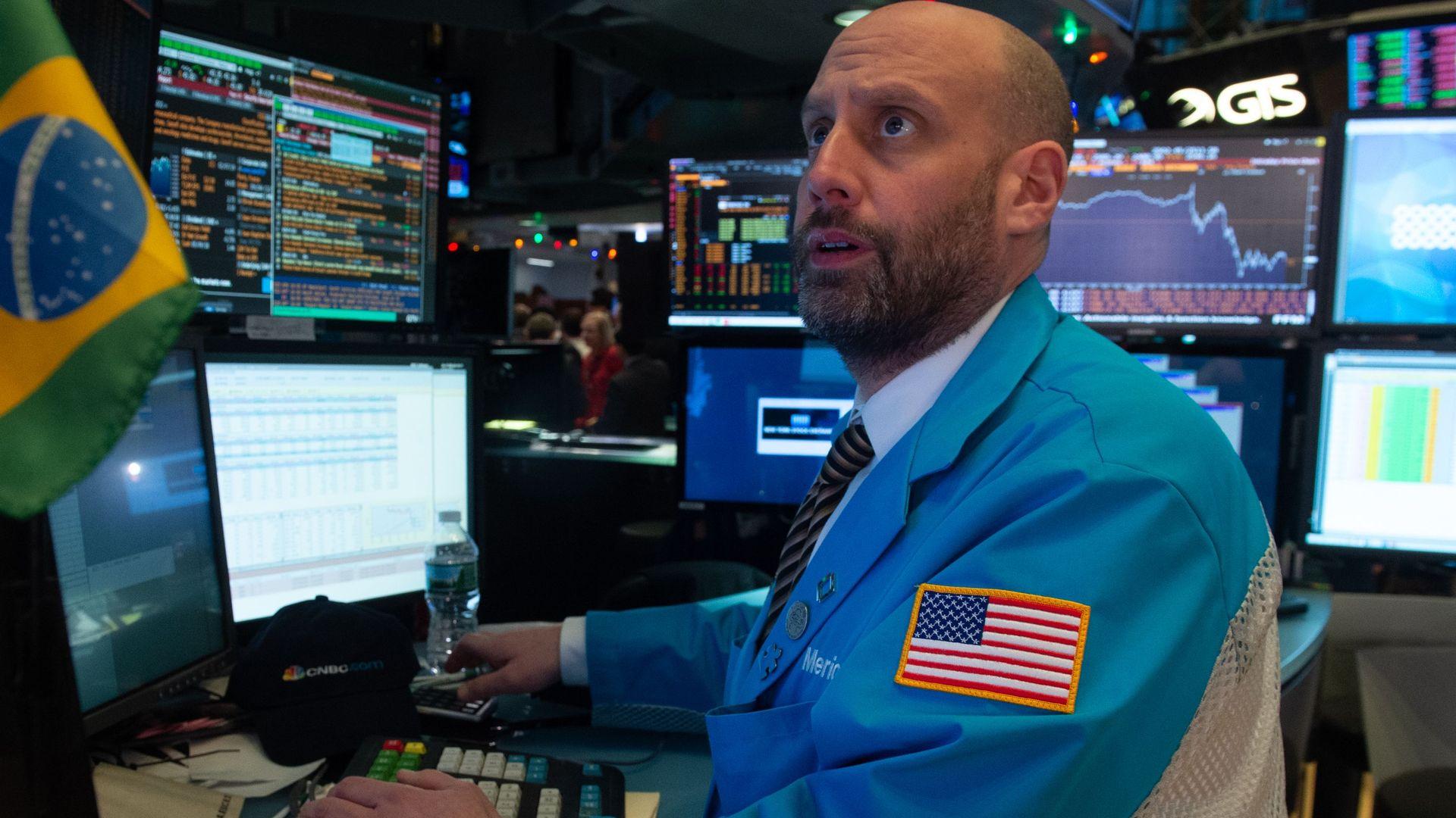 Trader looks concerned.