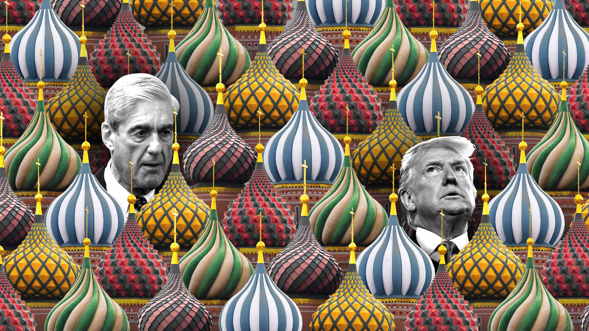 This is an illustration of Mueller, Trump and some Russian cathedral domes