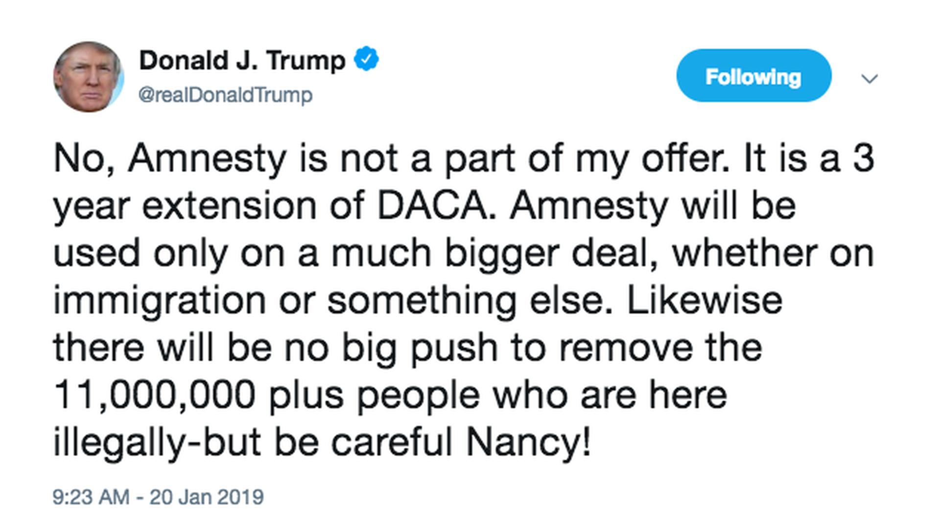 Trump issues veiled deportation threat over shutdown negotiations
