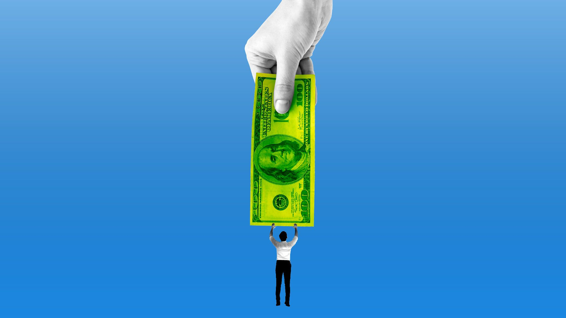 Illustration of little guy clinging to a giant dollar held by hand above him