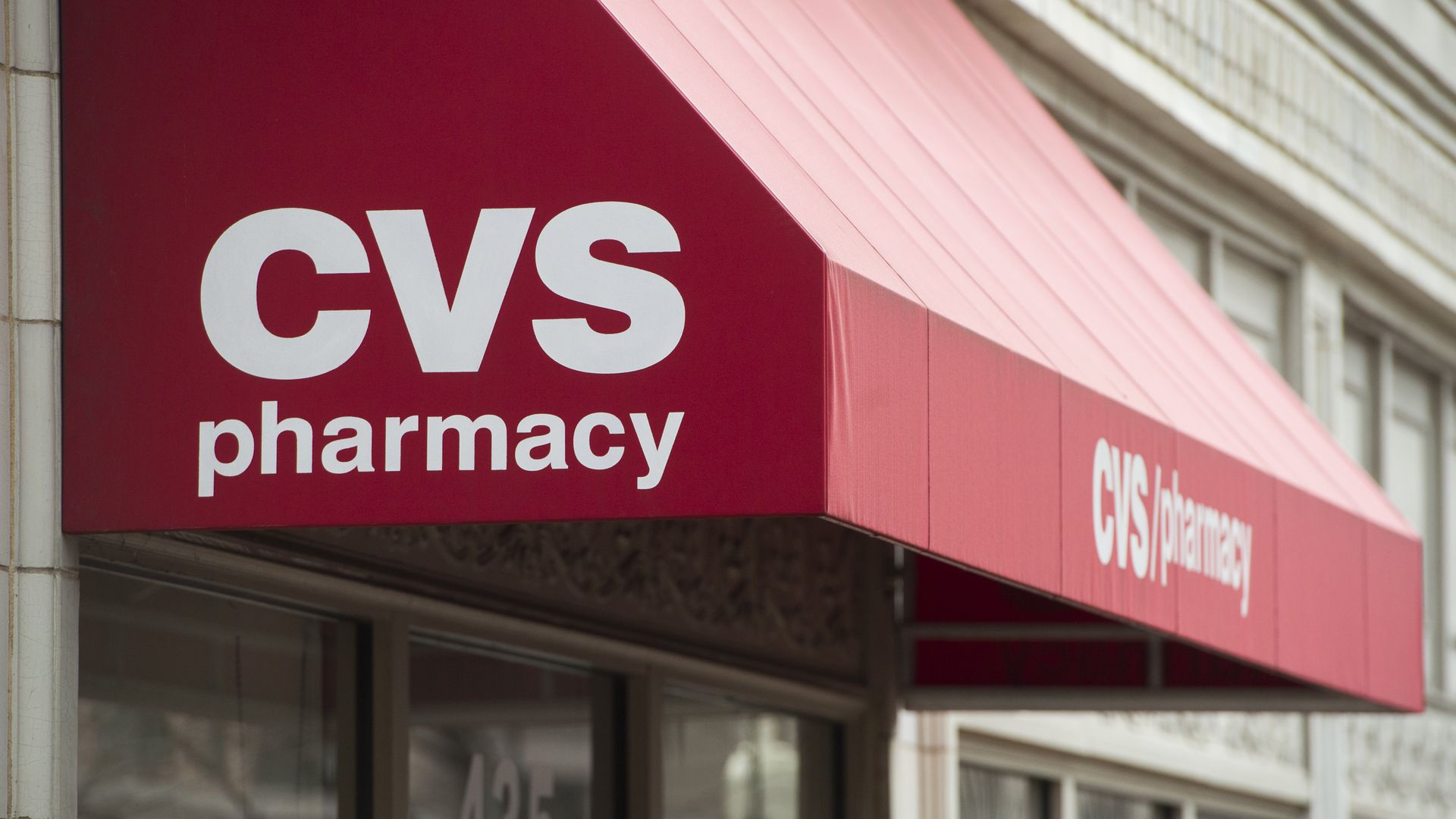 An awning that reads CVS pharmacy.