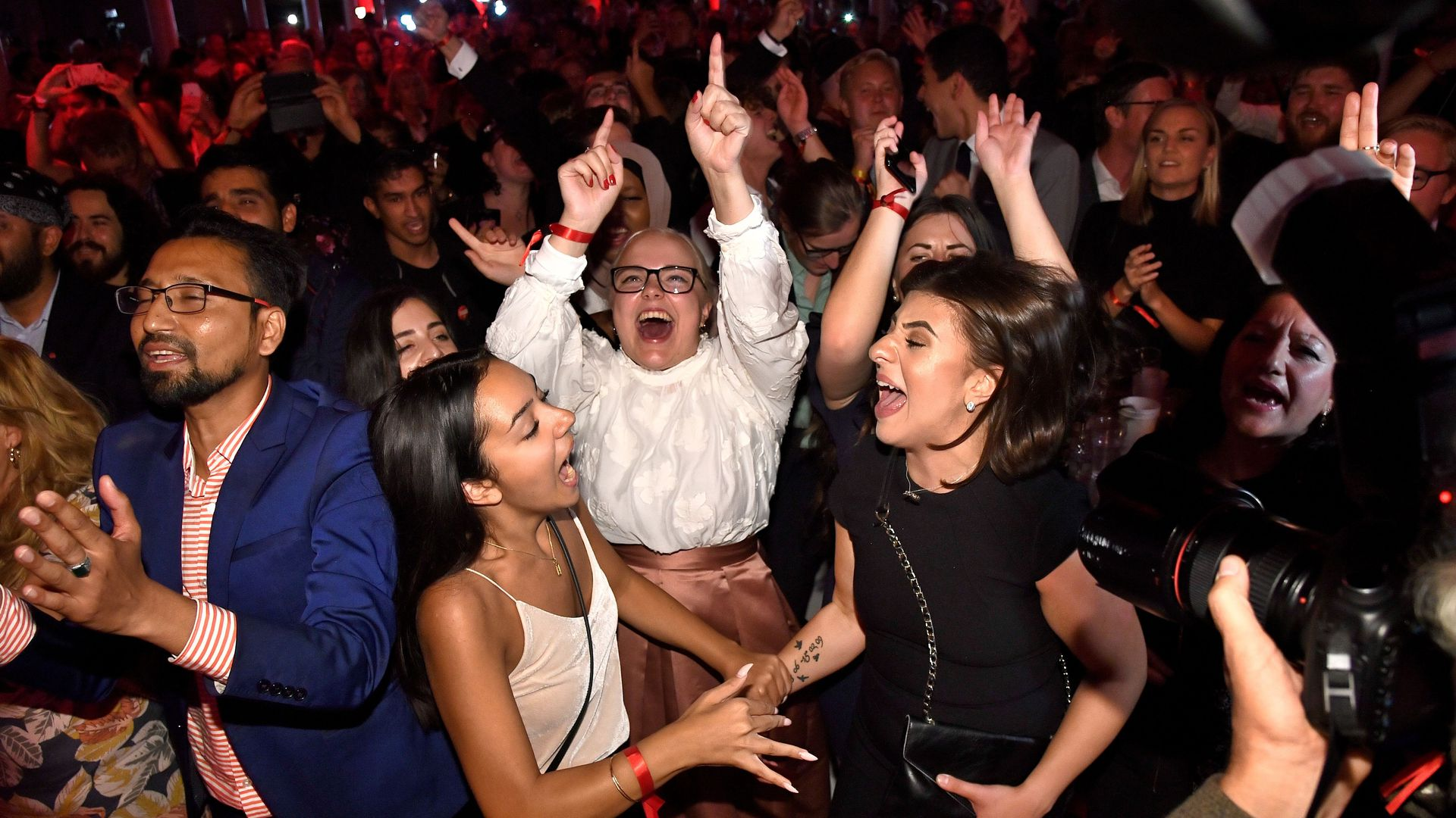 Supporters of Sweden's Social Democrat party celebrate