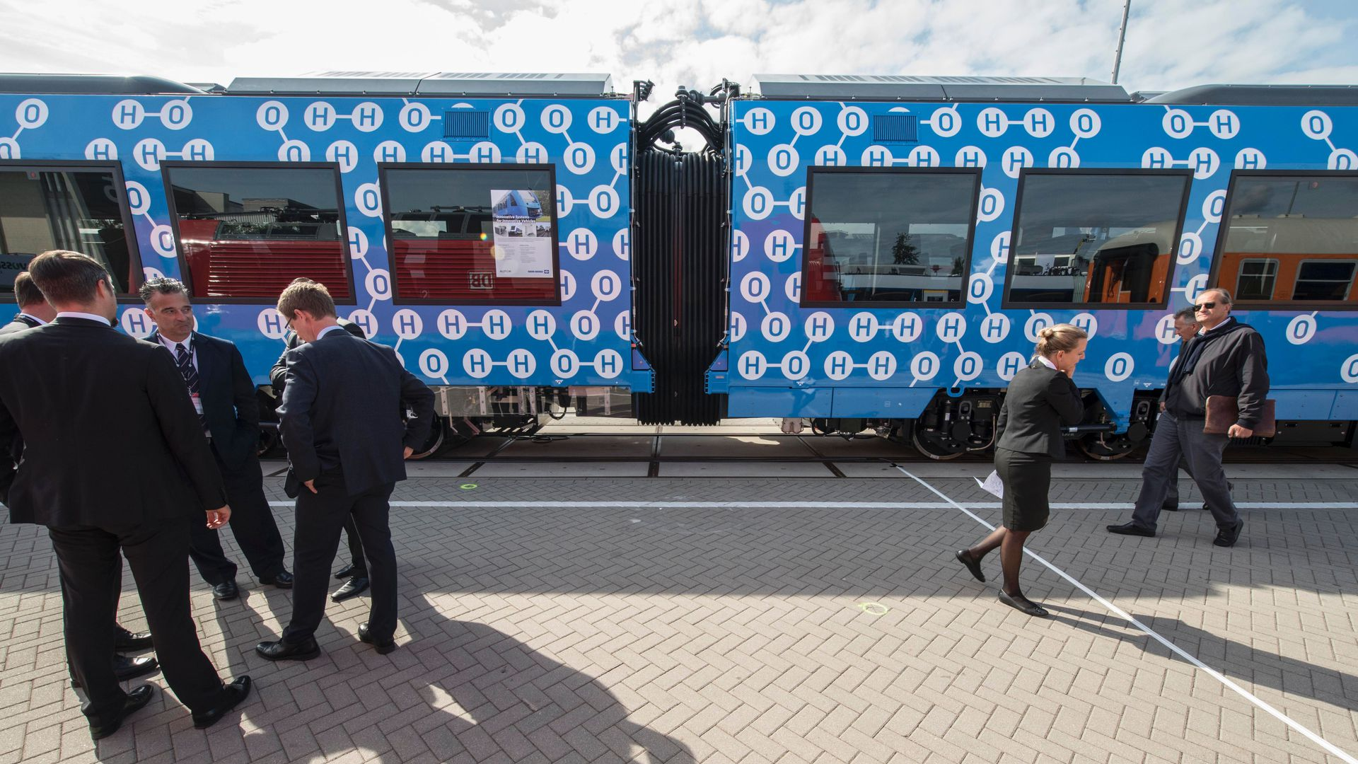 The Coradia iLint train, a CO2-emission-free regional train developed by French transport giant Alstom, is on display