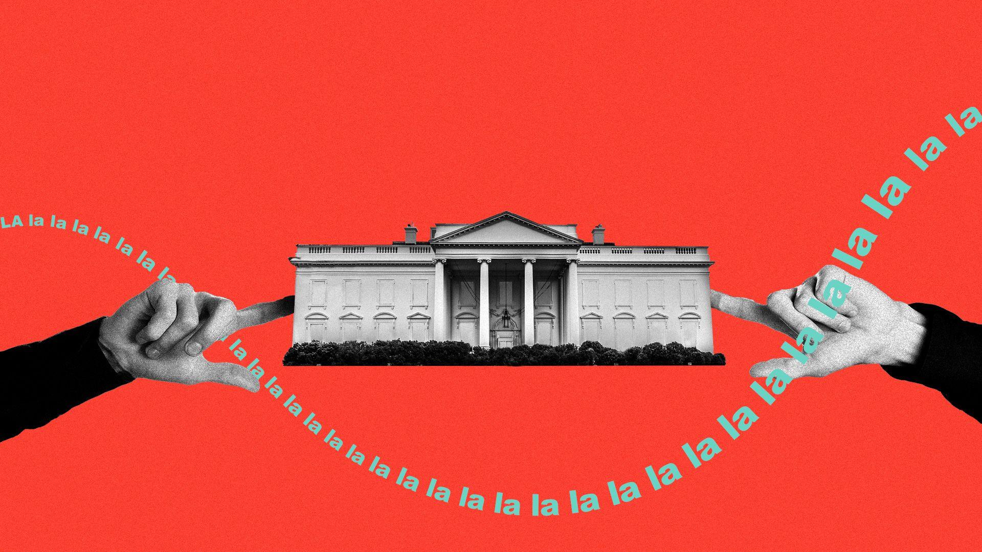 "Illustration of the White House plugging it's ears, the phrase, ""la la la la la la"" encircles it."