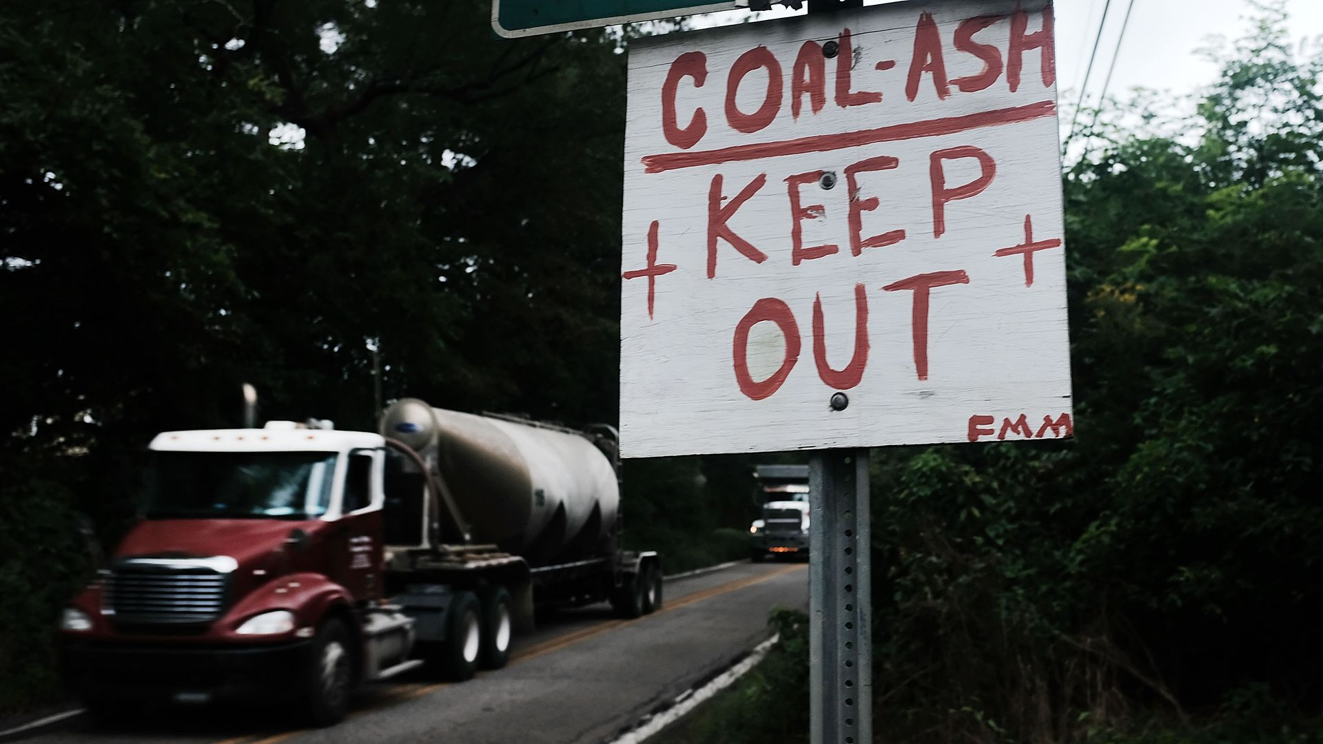 sign that says coal ash keep out