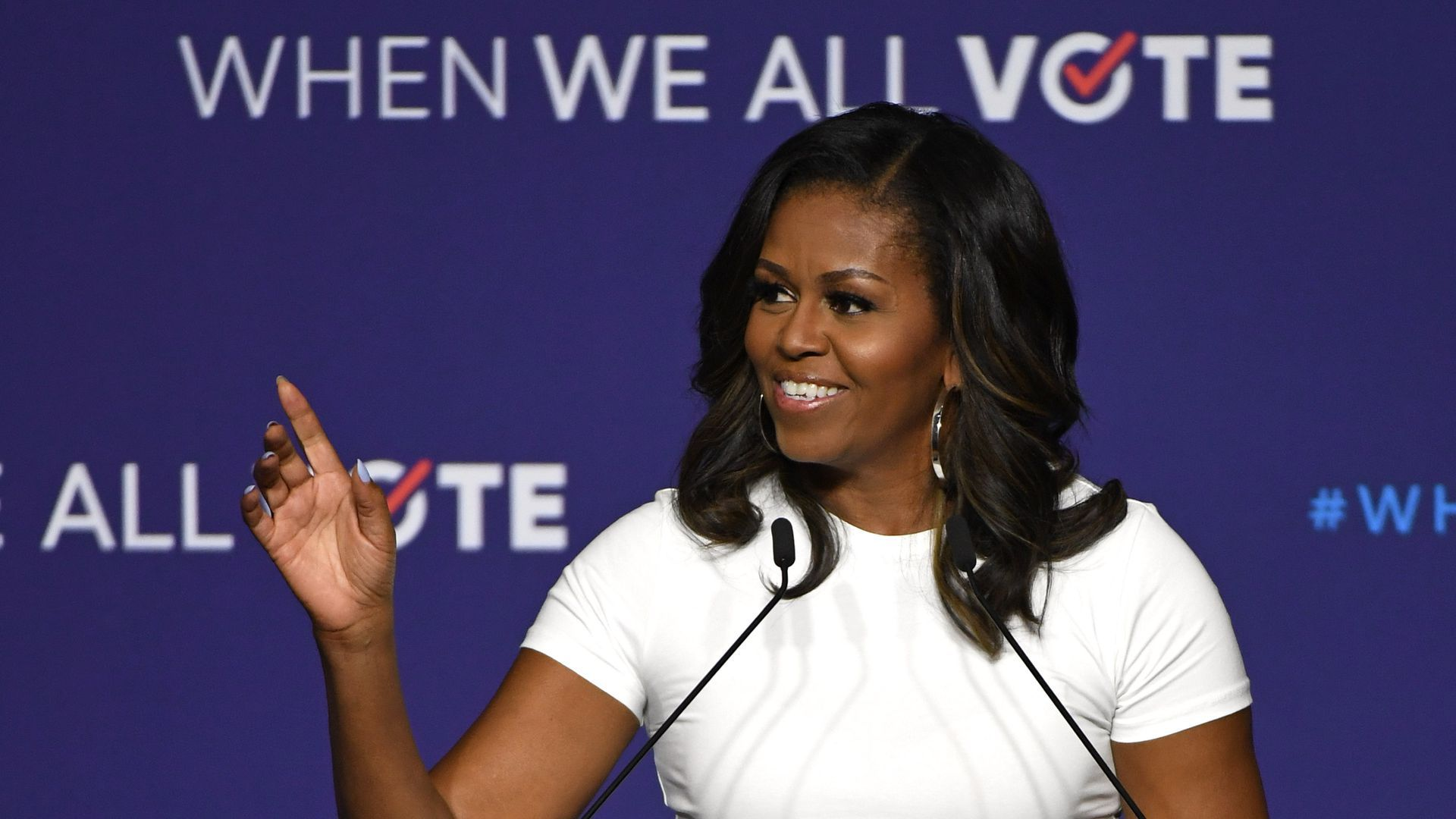 Michelle Obama at a speaking engagement