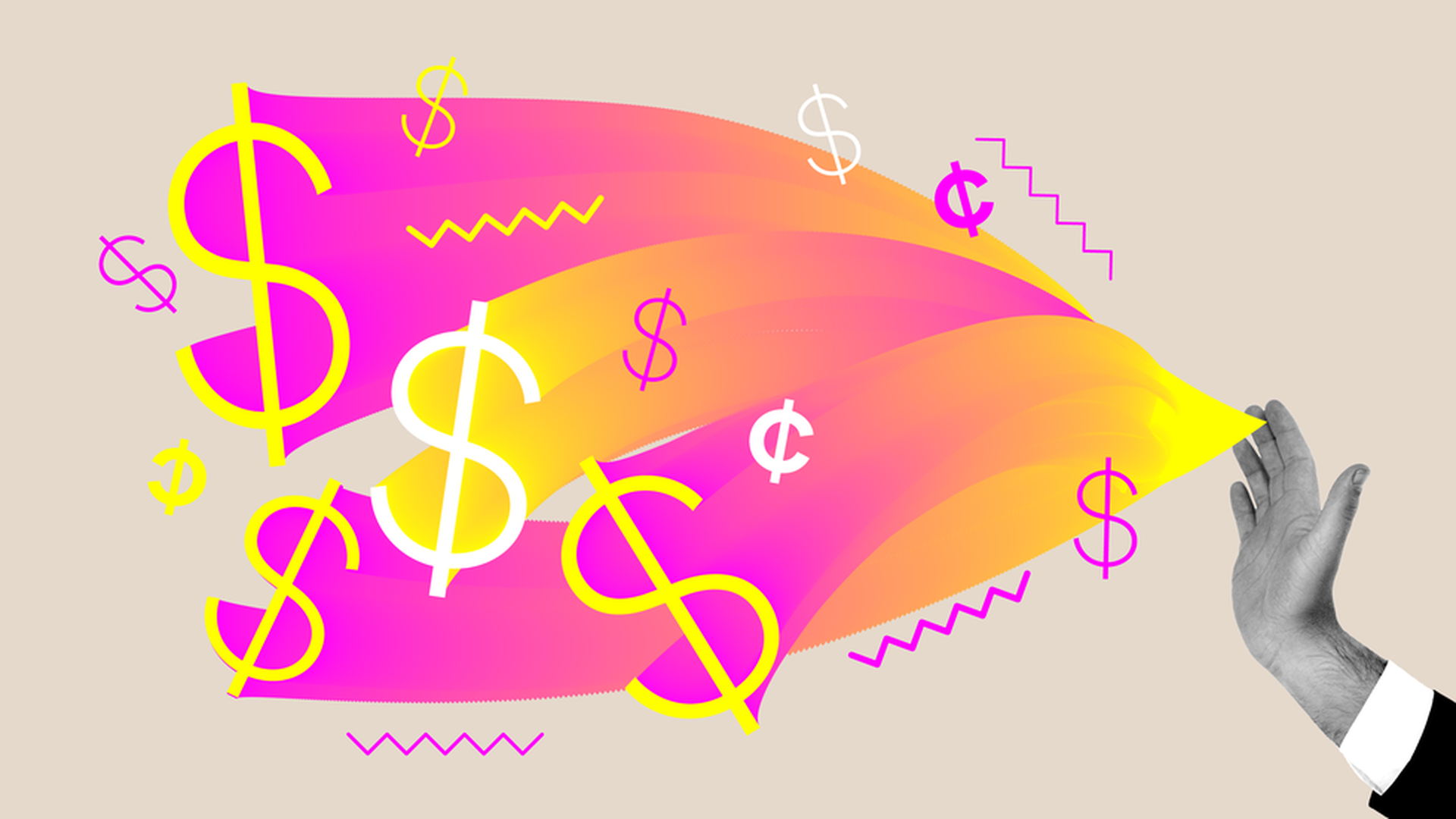 Dollar signs flowing from hand illustration