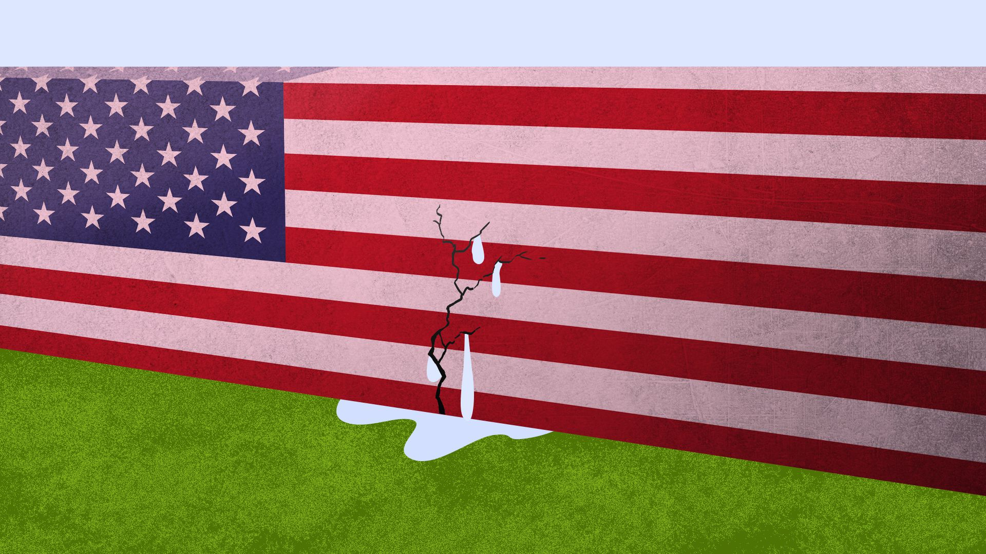 Illustration of American flag damn with crack in it and water spilling out