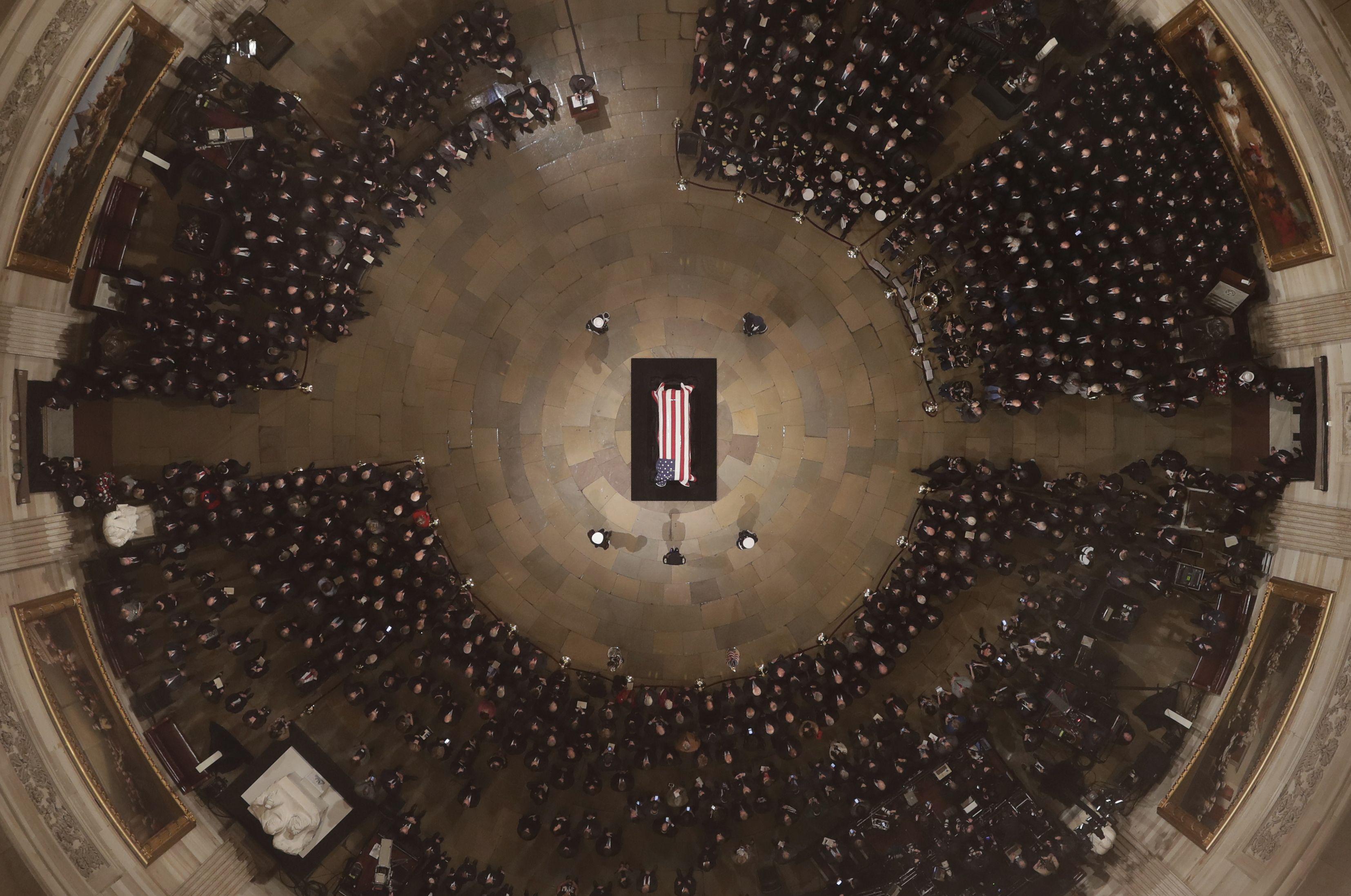 George H. W. Bush's casket in the rotunda.