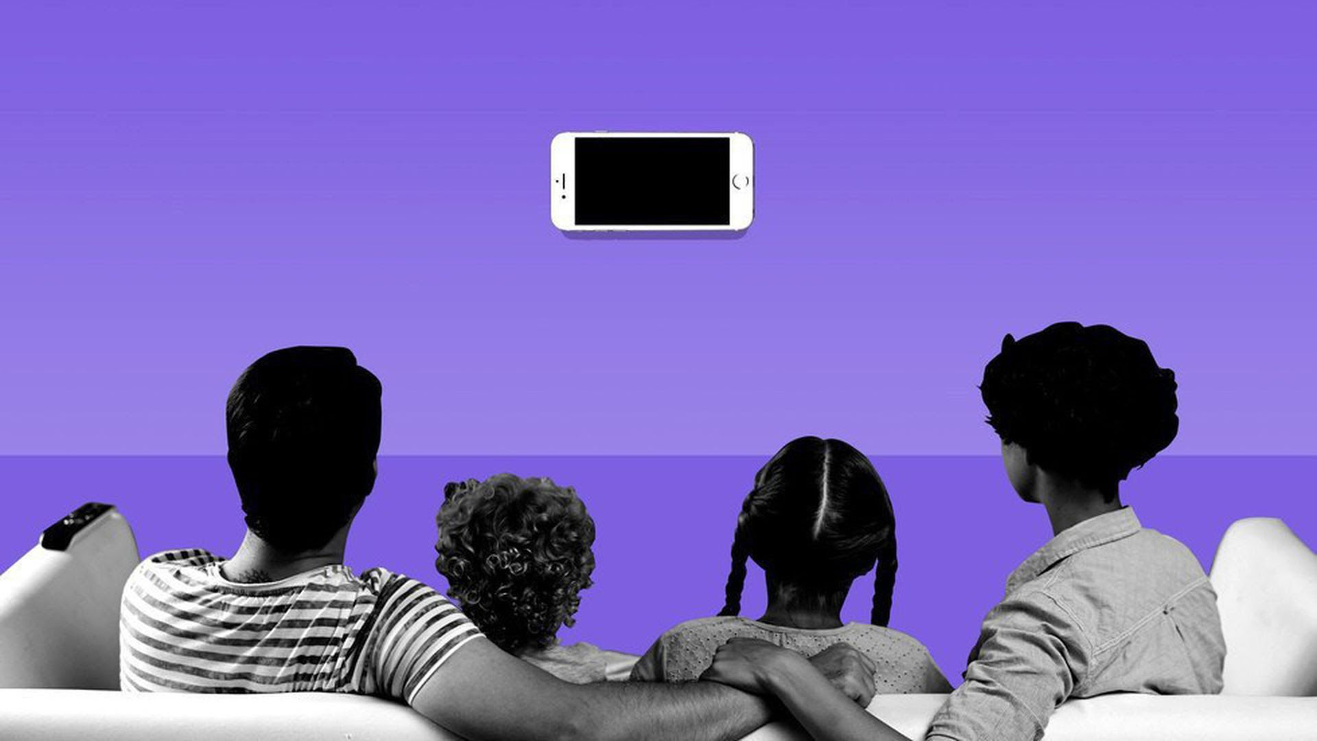 An Axios illustration of a family watching a phone