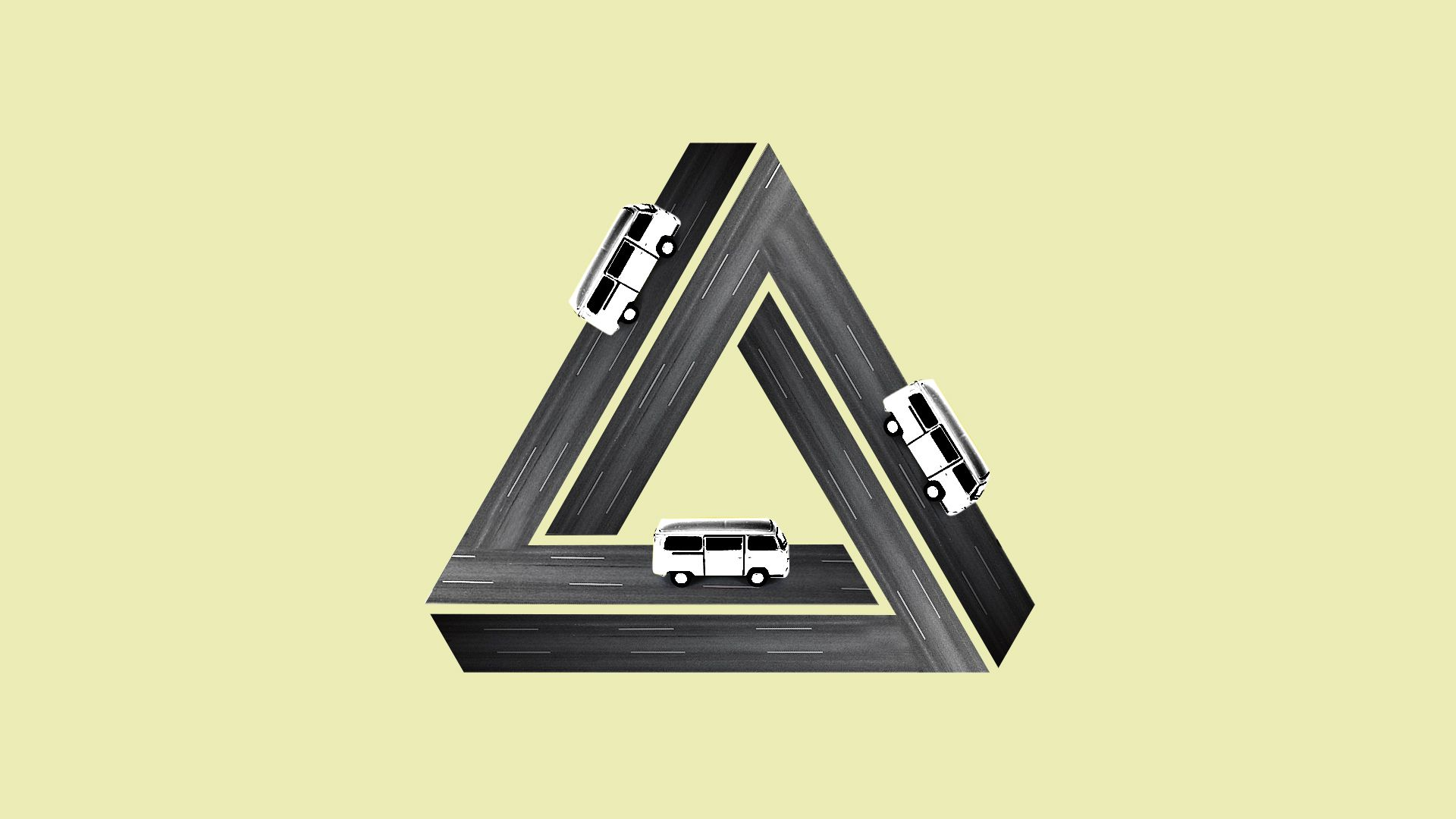 Illustration of roads in the shape of a penrose triangle