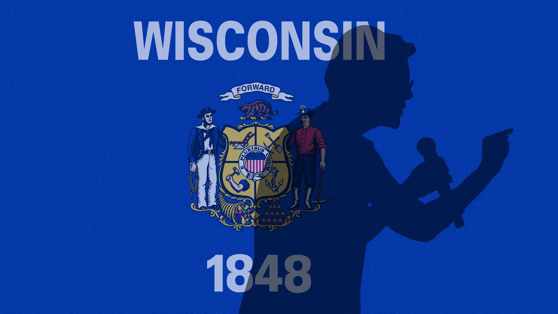 Illustration of Elizabeth Warren's shadow casting over the state flag of Wisconsin.
