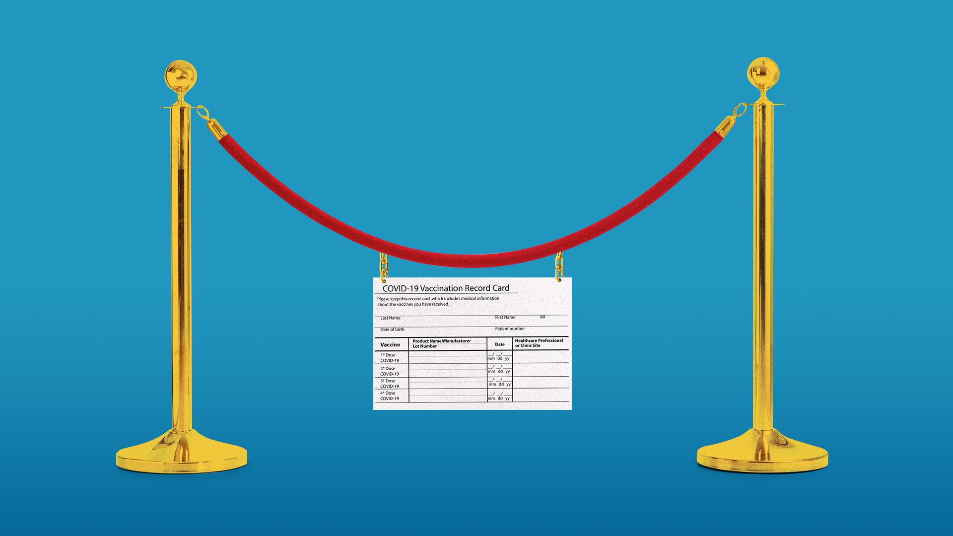 Illustration of a rope barrier with a vaccination card hanging from the rope section.
