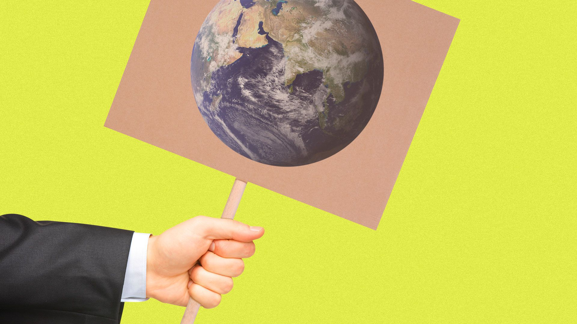 Illustration of suited hand holding a climate protest sign.