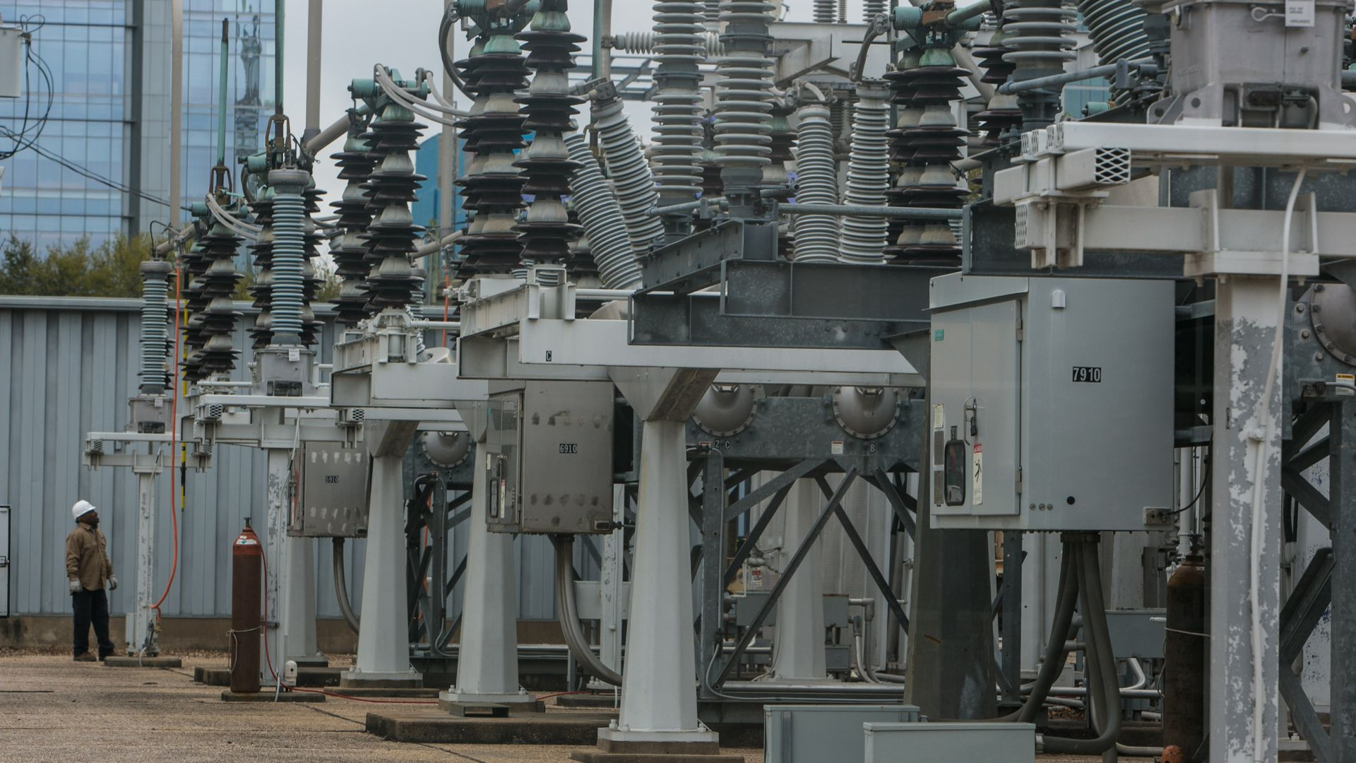 electric transformers next to an office building