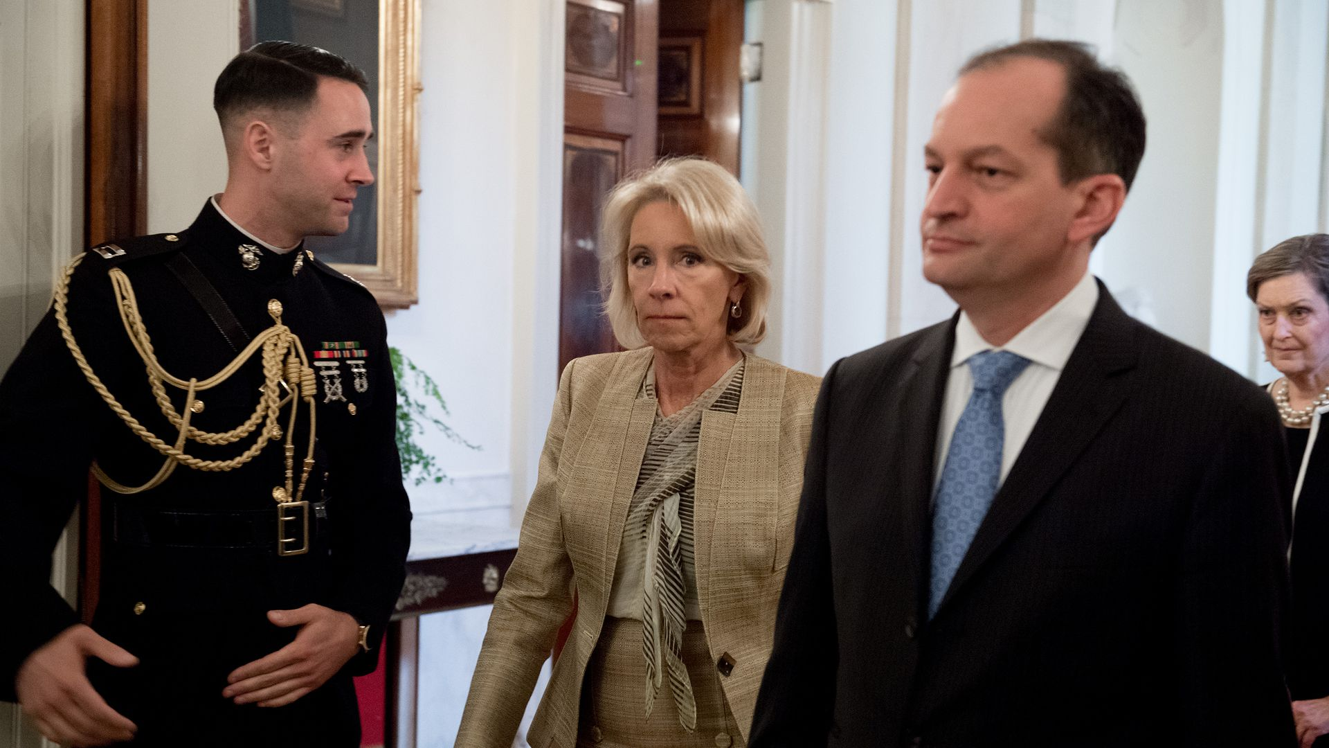 Secretary of Education Betsy DeVos and Secretary of Labor Alexander Acosta. Photo: Saul Loeb/AFP/Getty Images